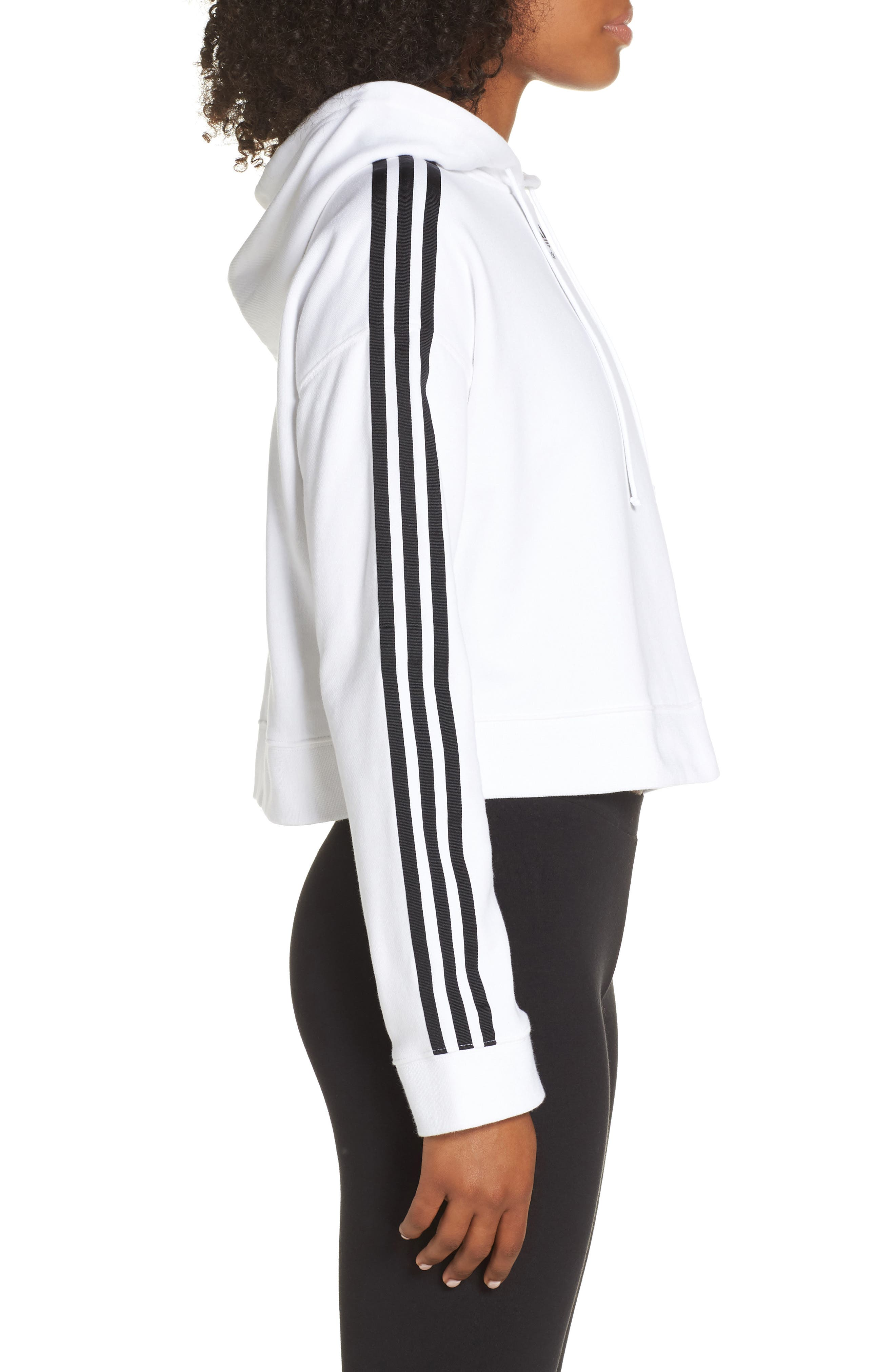 ADIDAS ORIGINALS, Cropped Hoodie, Alternate thumbnail 4, color, WHITE