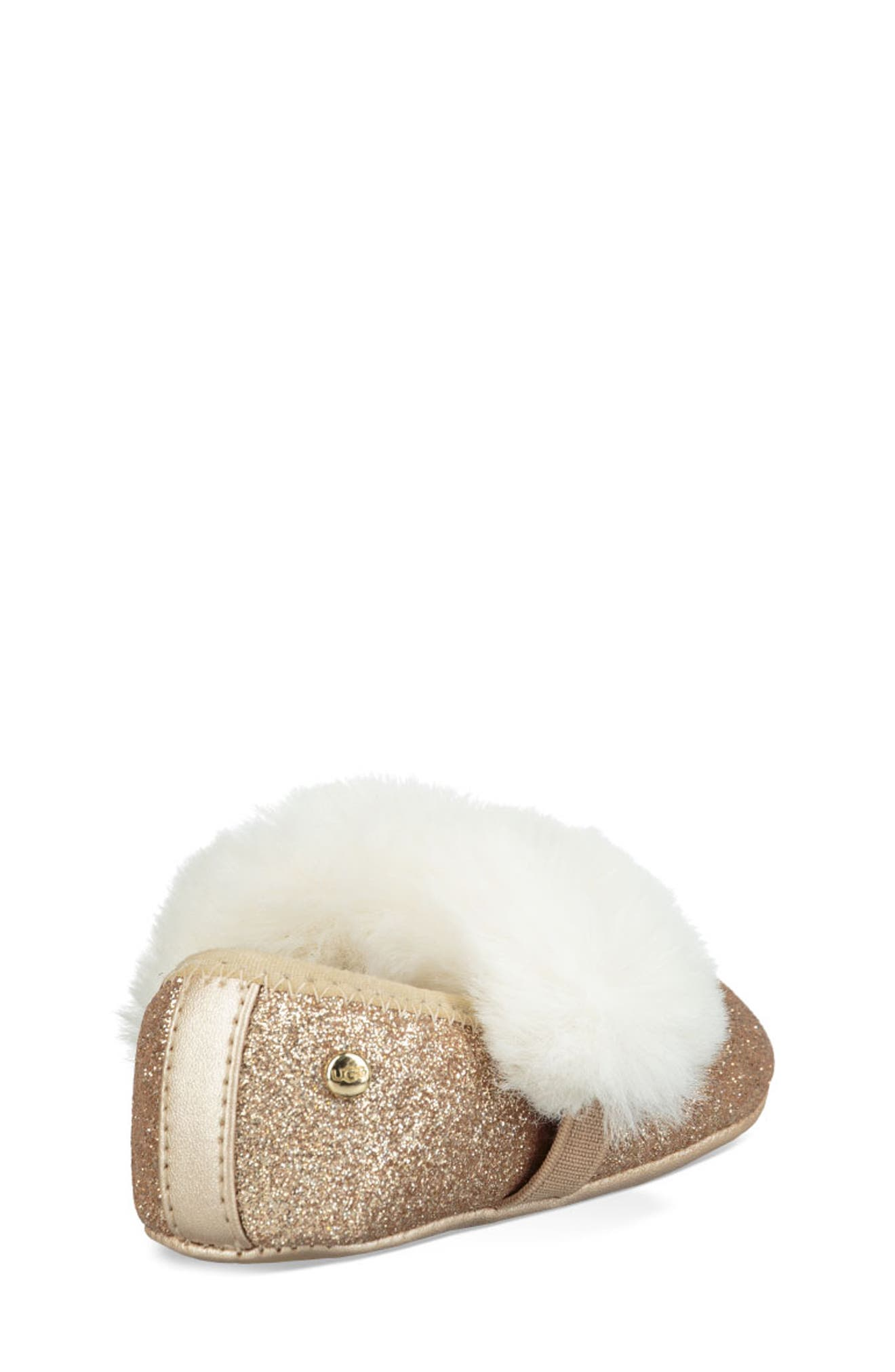 UGG<SUP>®</SUP>, Fluff Glitter Ballet Flat, Alternate thumbnail 2, color, GOLD