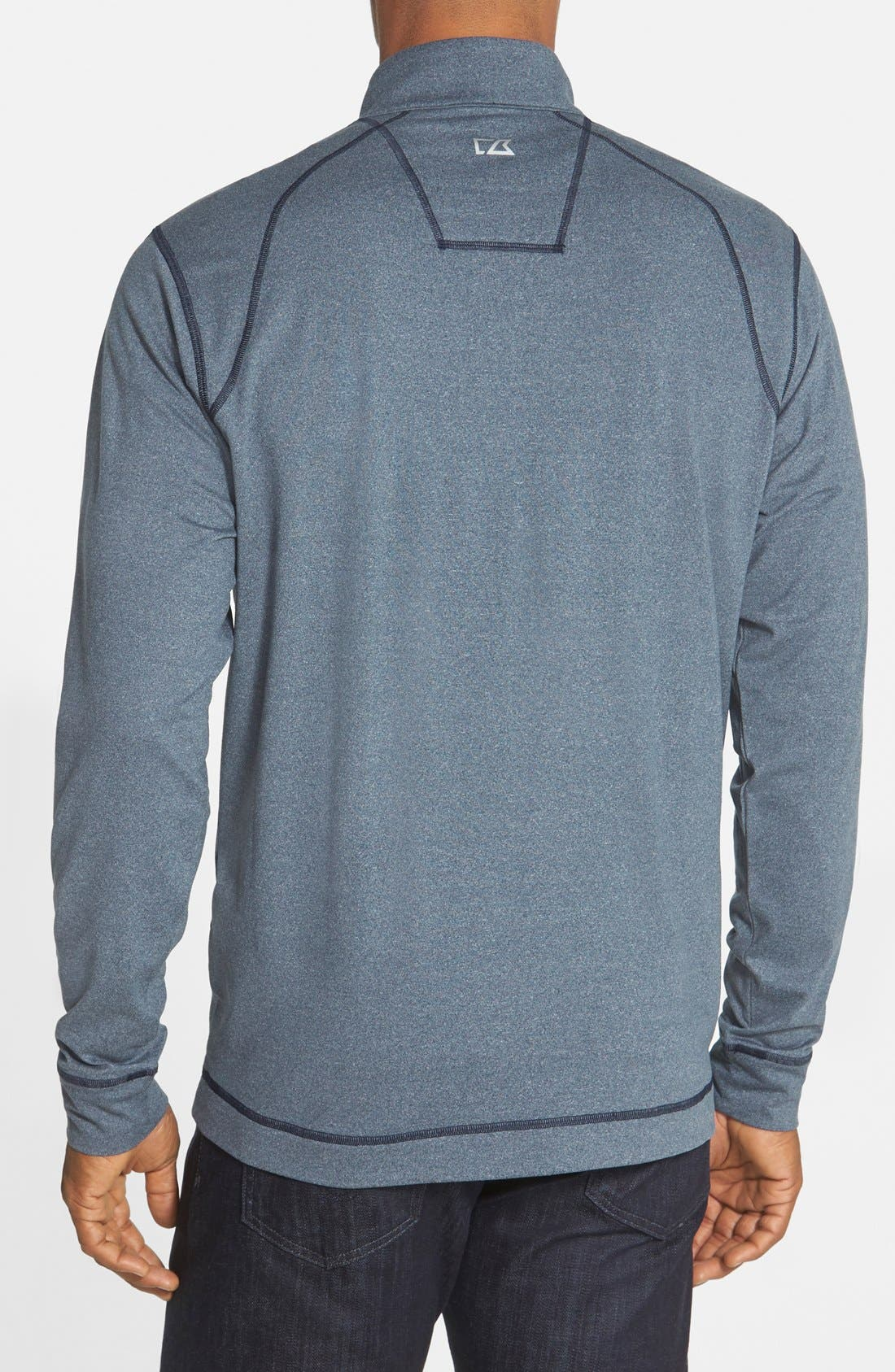 CUTTER & BUCK, 'Topspin' DryTec Half Zip Pullover, Alternate thumbnail 3, color, NAVY HEATHER
