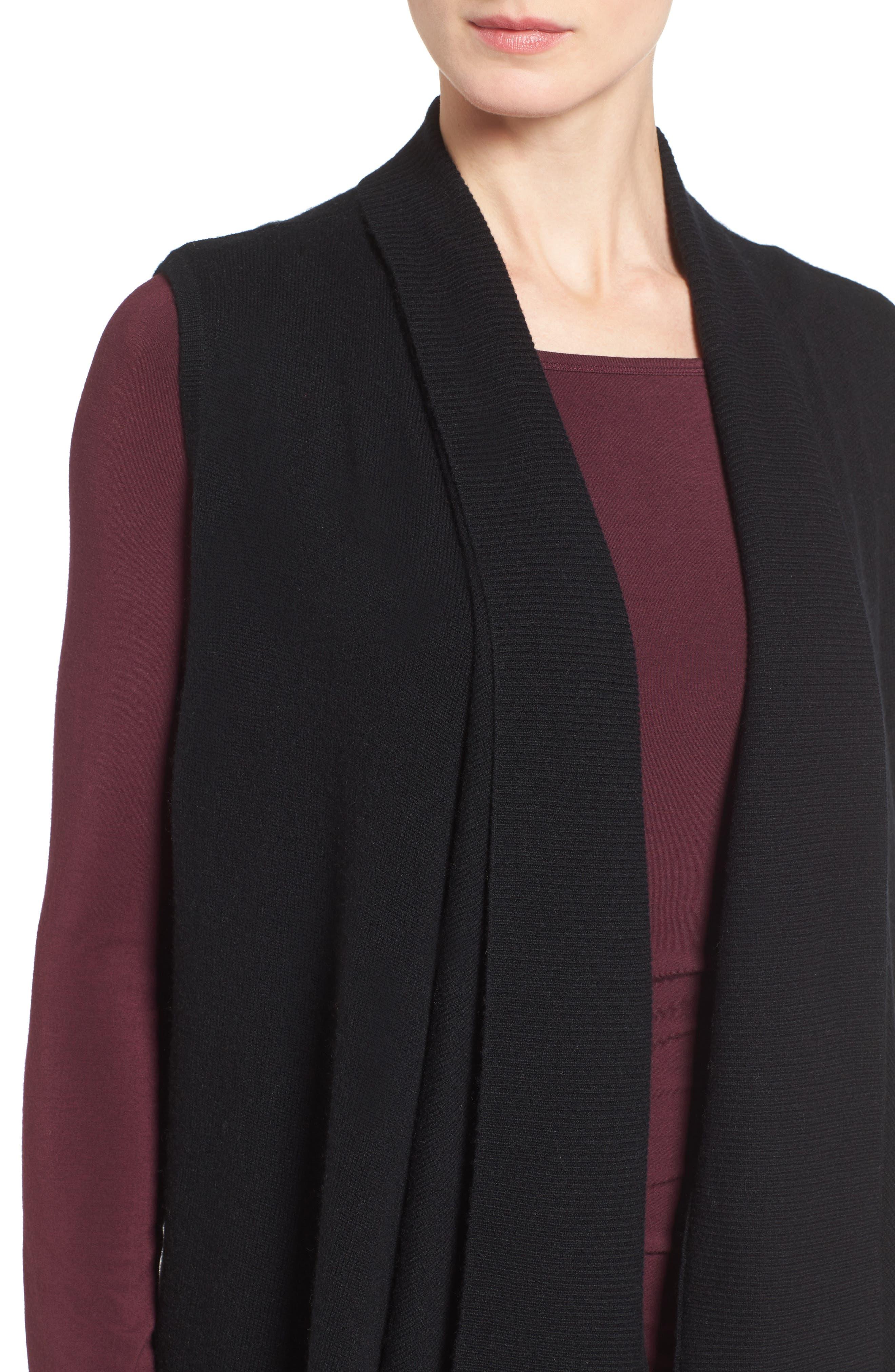 HALOGEN<SUP>®</SUP>, Wool & Cashmere Drape Front Sweater Vest, Alternate thumbnail 4, color, BLACK