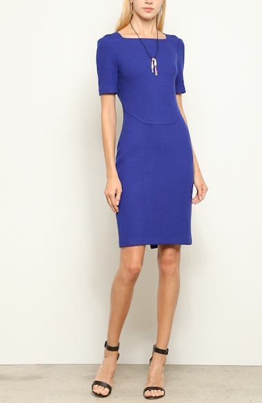 Irina Bouclé Knit Square Neck Sheath Dress, video thumbnail
