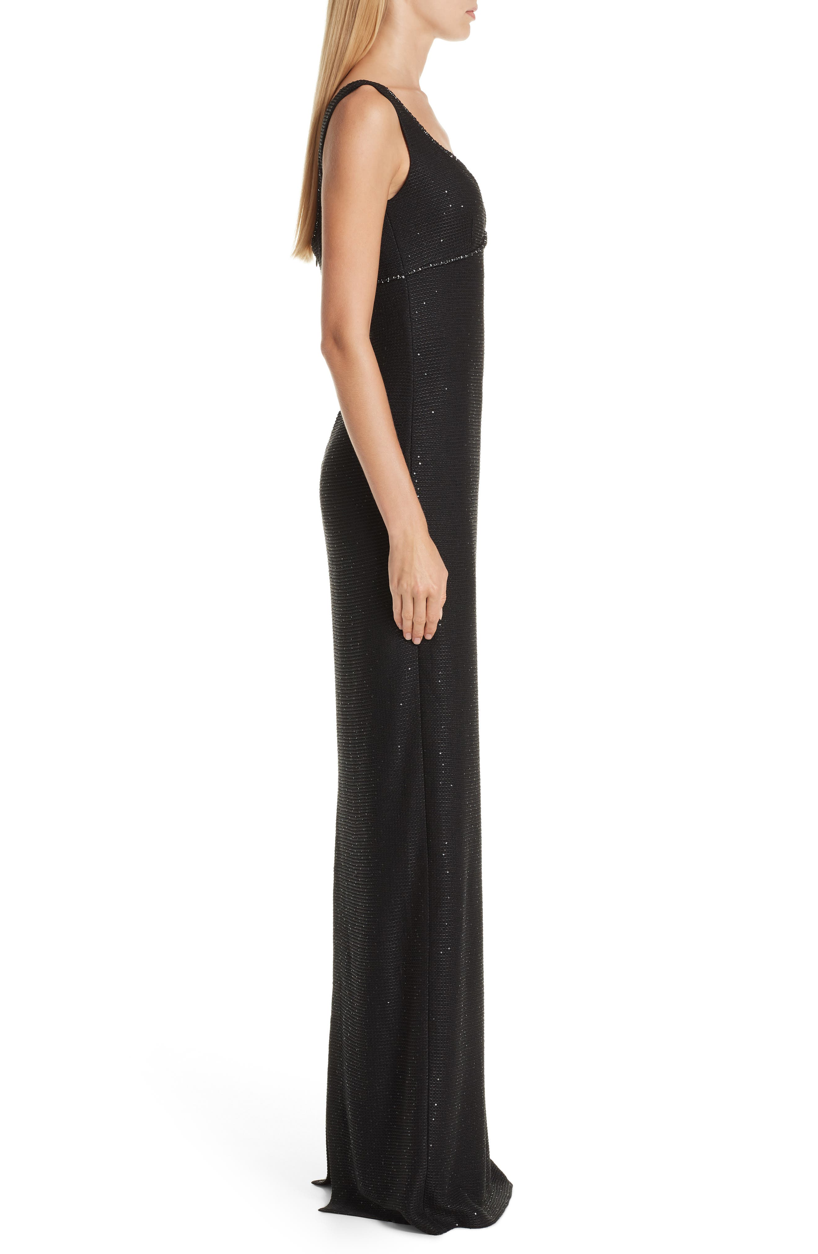 ST. JOHN COLLECTION, Links Sequin Knit Gown, Alternate thumbnail 3, color, CAVIAR