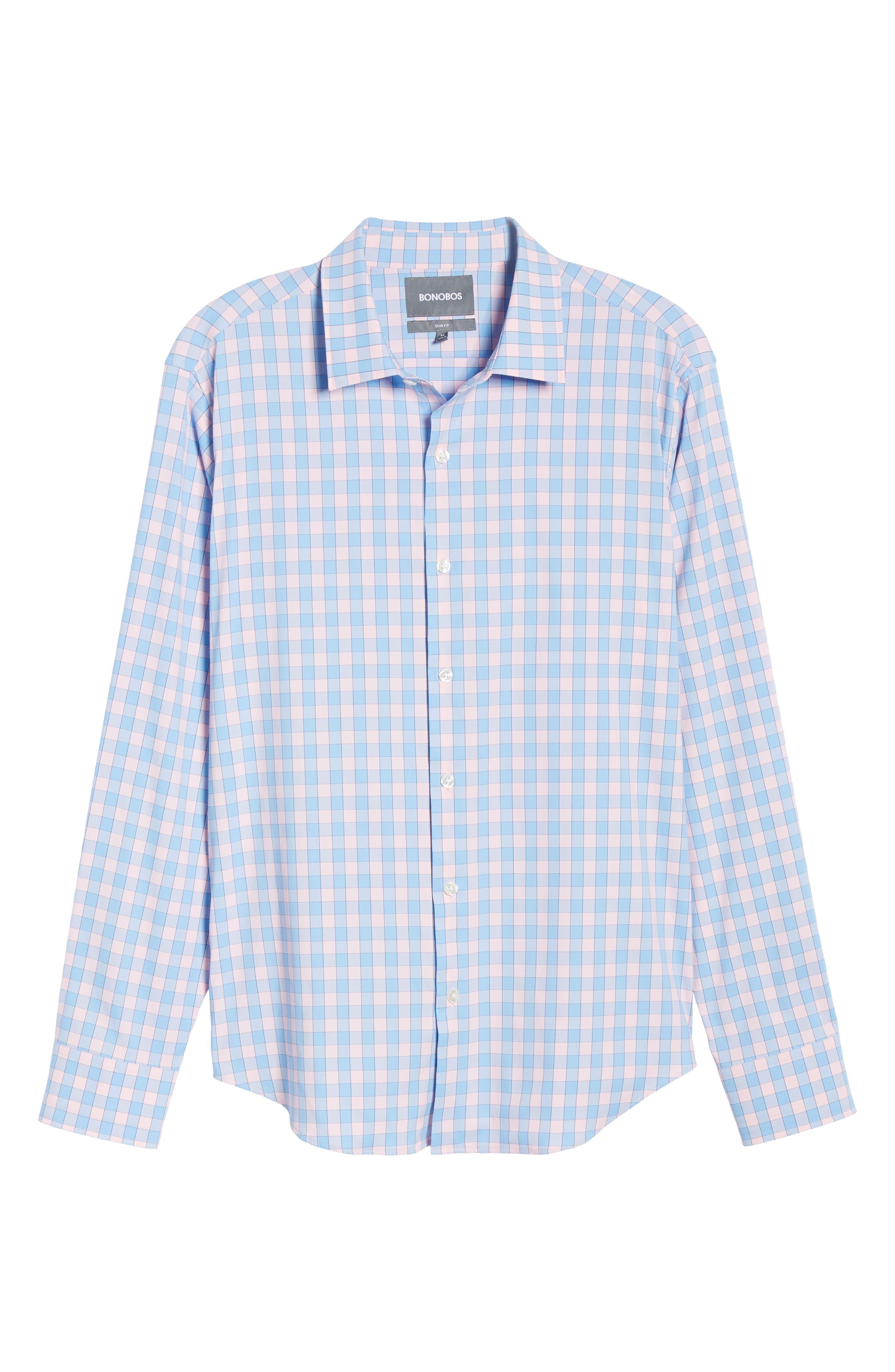 BONOBOS, Slim Fit Check Tech Sport Shirt, Alternate thumbnail 5, color, SAIL BOAT FIRST BLUSH
