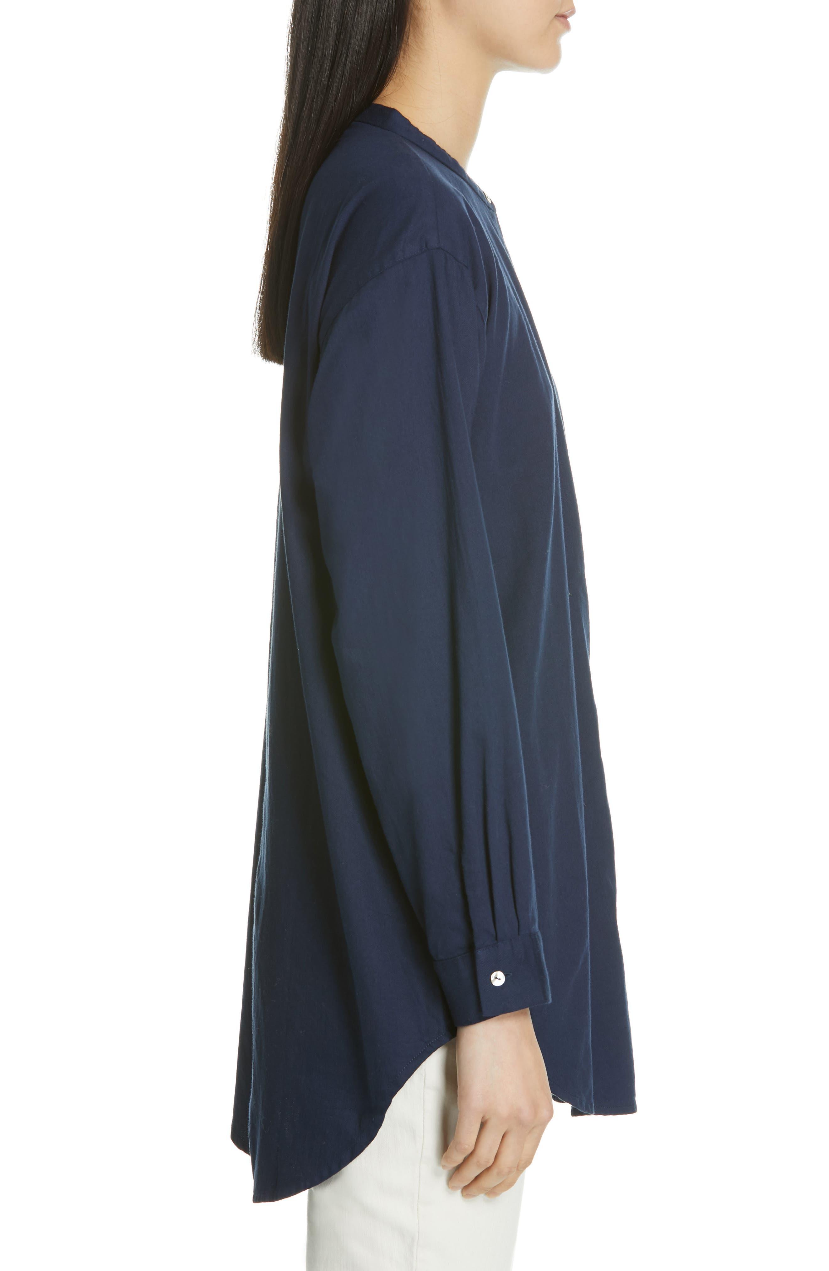 EILEEN FISHER, Mandarin Collar Organic Cotton Tunic Shirt, Alternate thumbnail 3, color, INDIGO