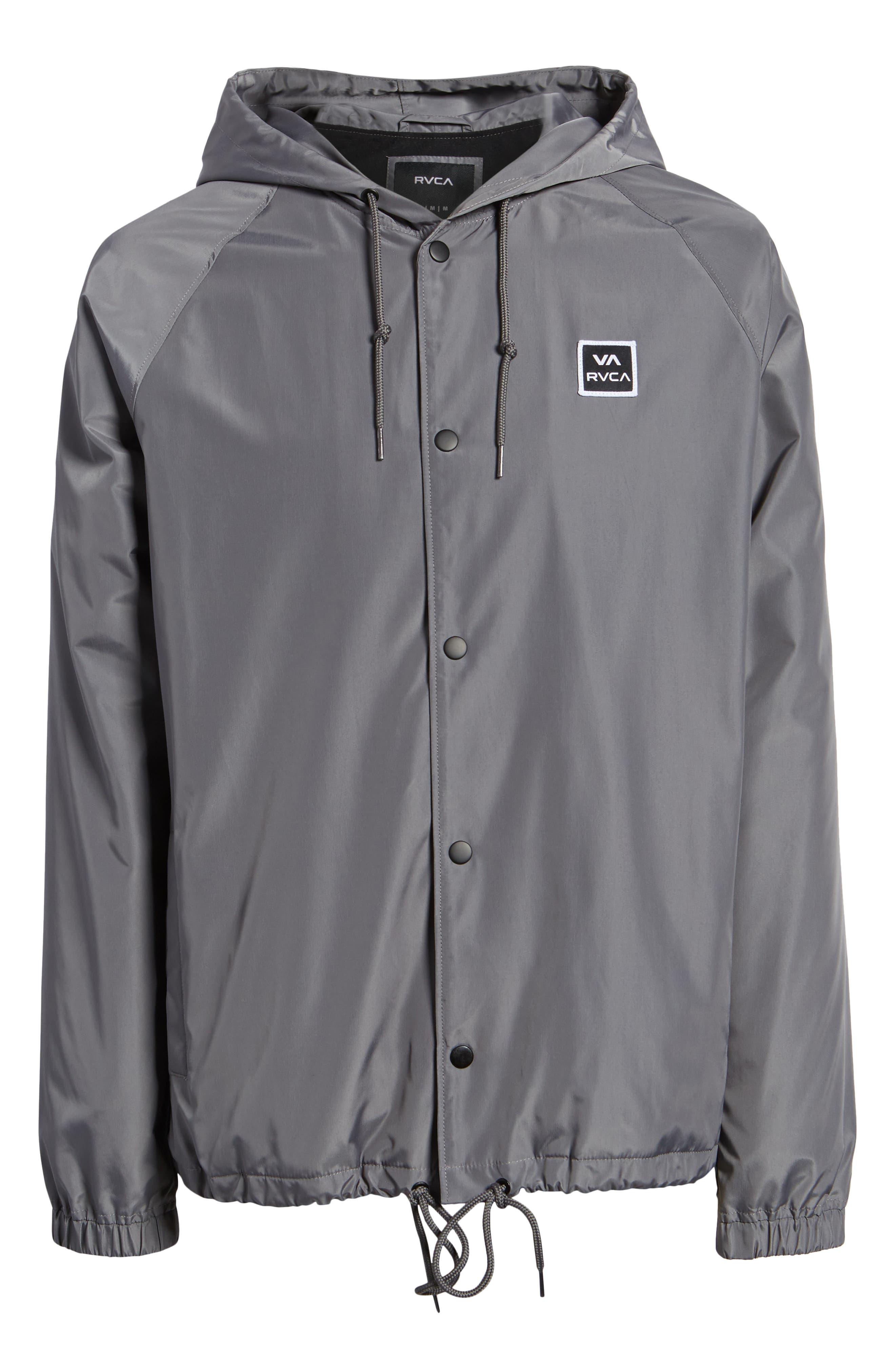 RVCA, VA Hooded Coach's Jacket, Alternate thumbnail 6, color, 026