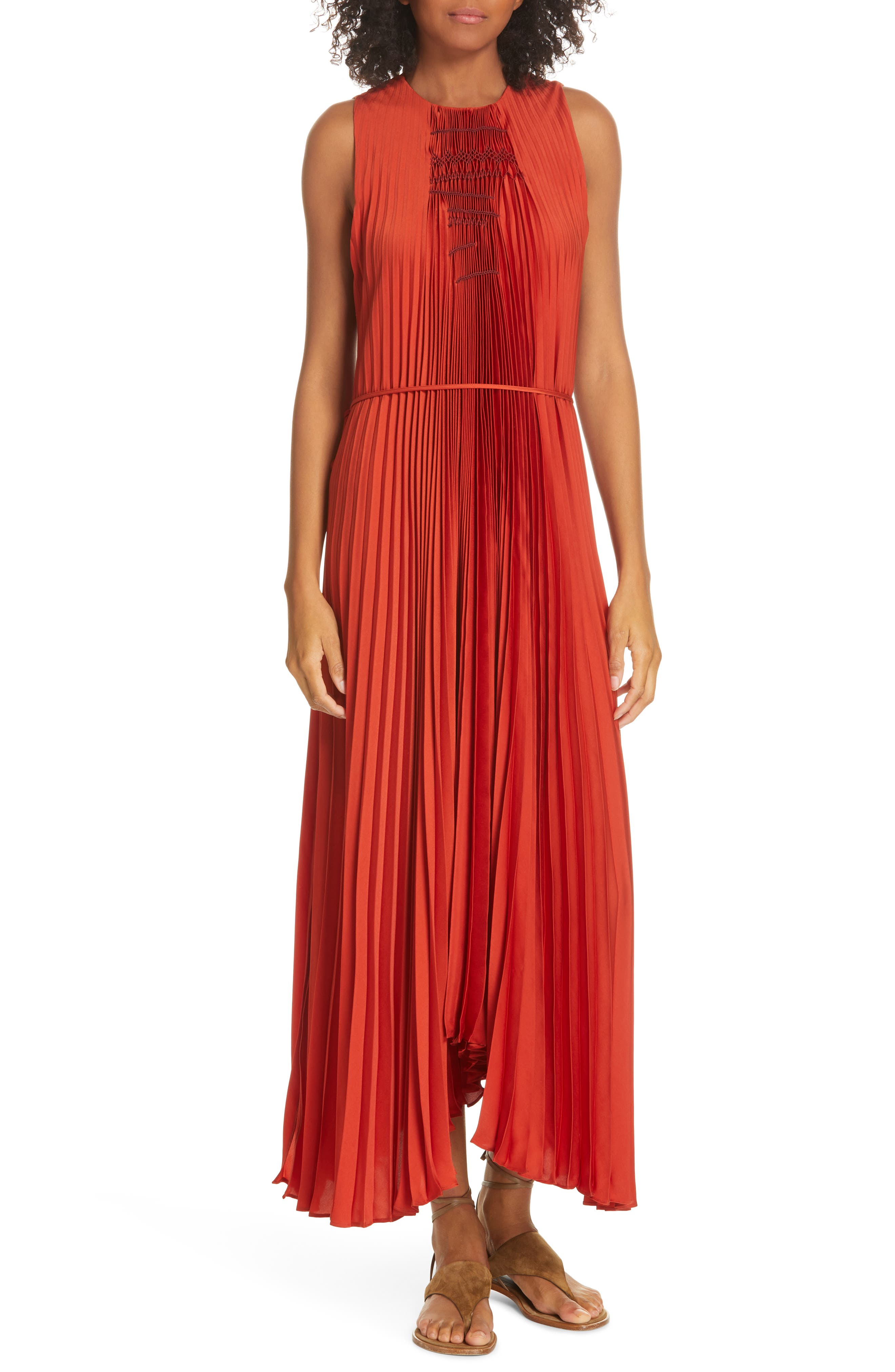 VINCE Smocked Maxi Dress, Main, color, ADOBE RED