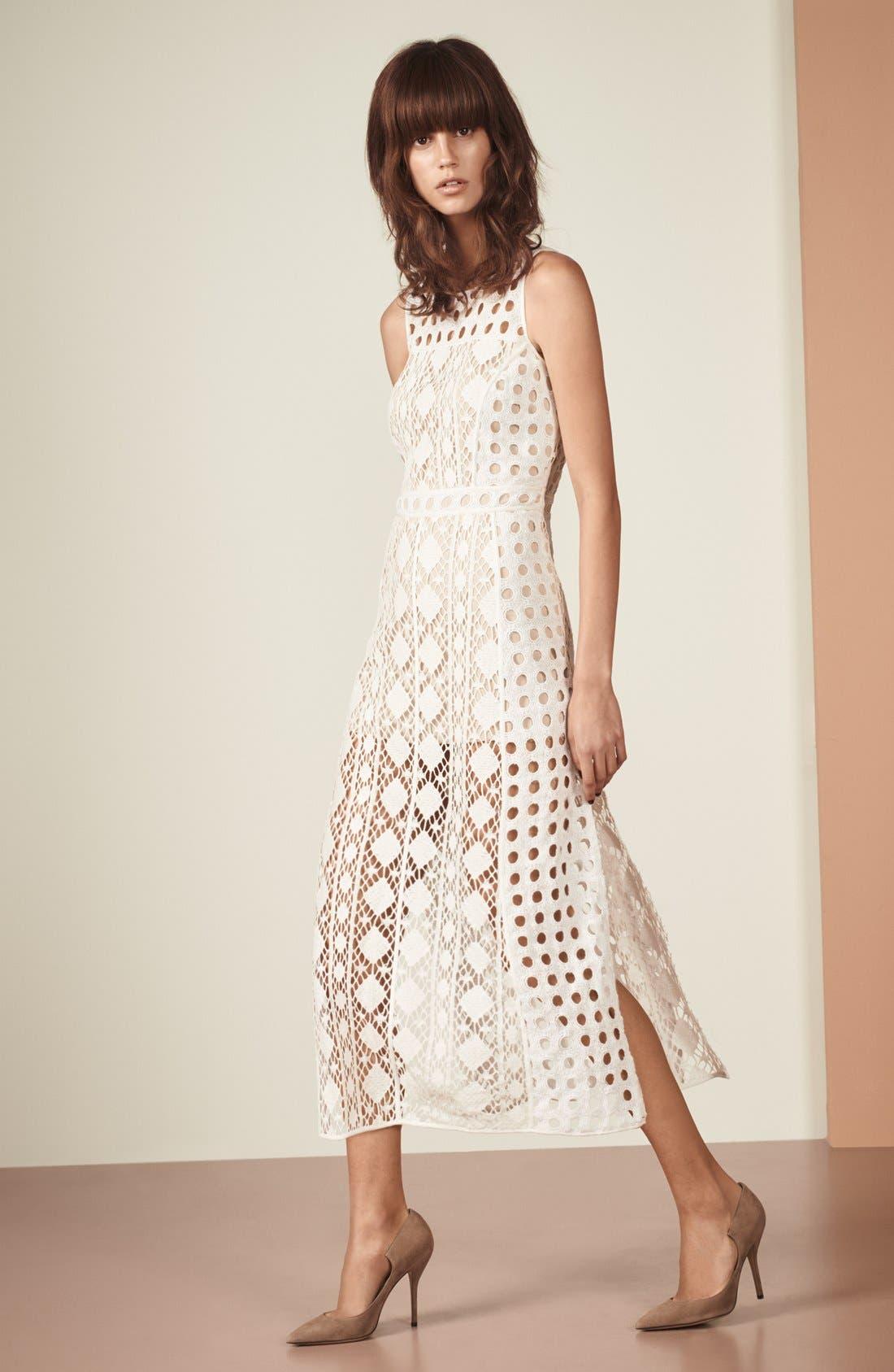 OLIVIA PALERMO + CHELSEA28, Patchwork Lace Midi Dress, Alternate thumbnail 5, color, 100