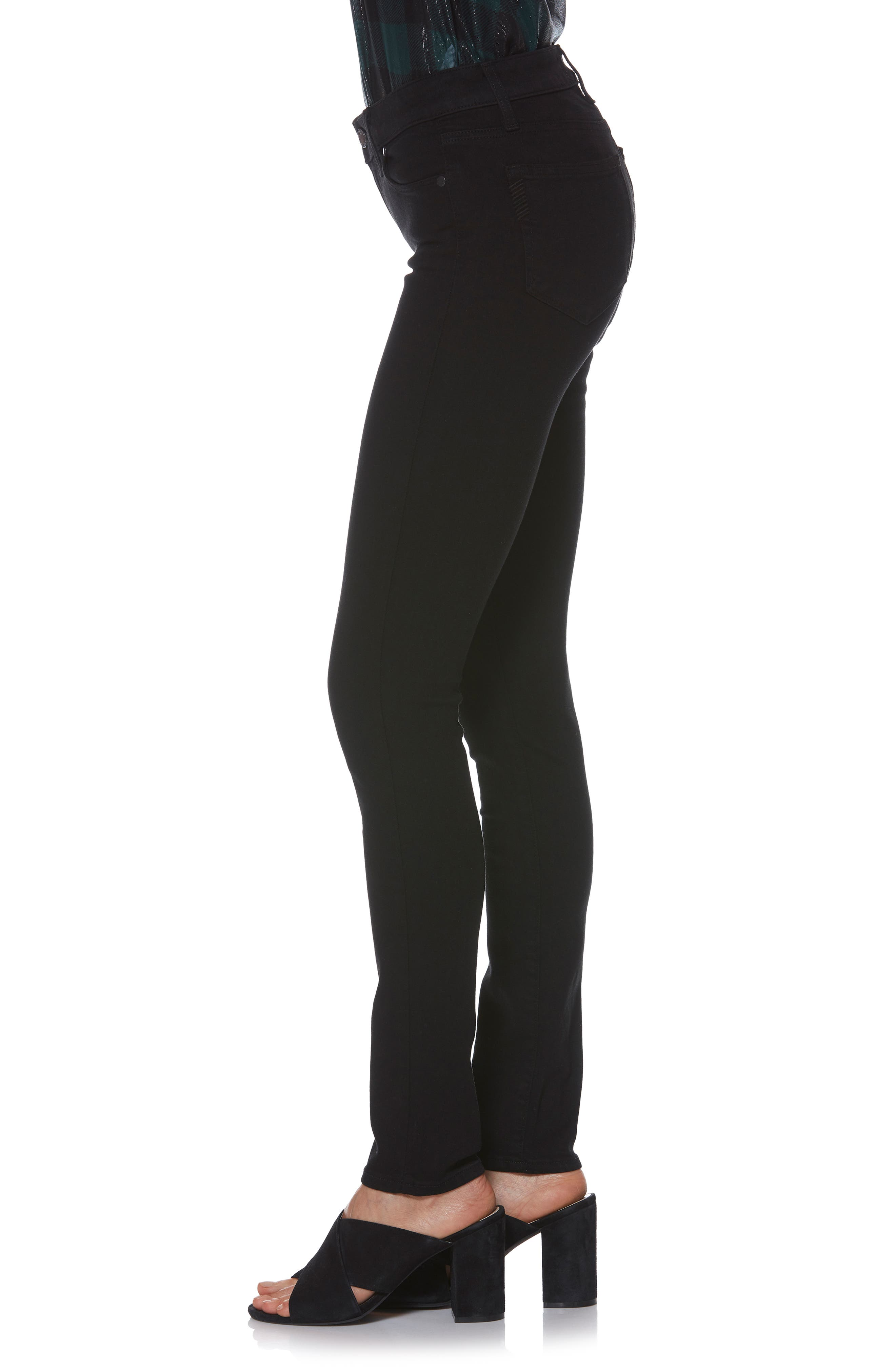 PAIGE, Transcend - Skyline Skinny Jeans, Alternate thumbnail 6, color, BLACK SHADOW
