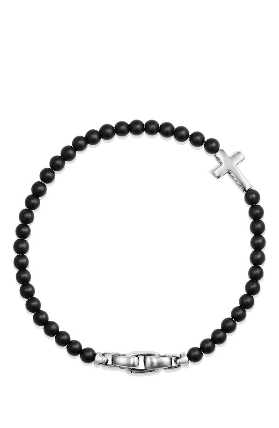 DAVID YURMAN, 'Spiritual Beads' Cross Bead Bracelet with Semiprecious Stones, Alternate thumbnail 3, color, SILVER/ BLACK ONYX