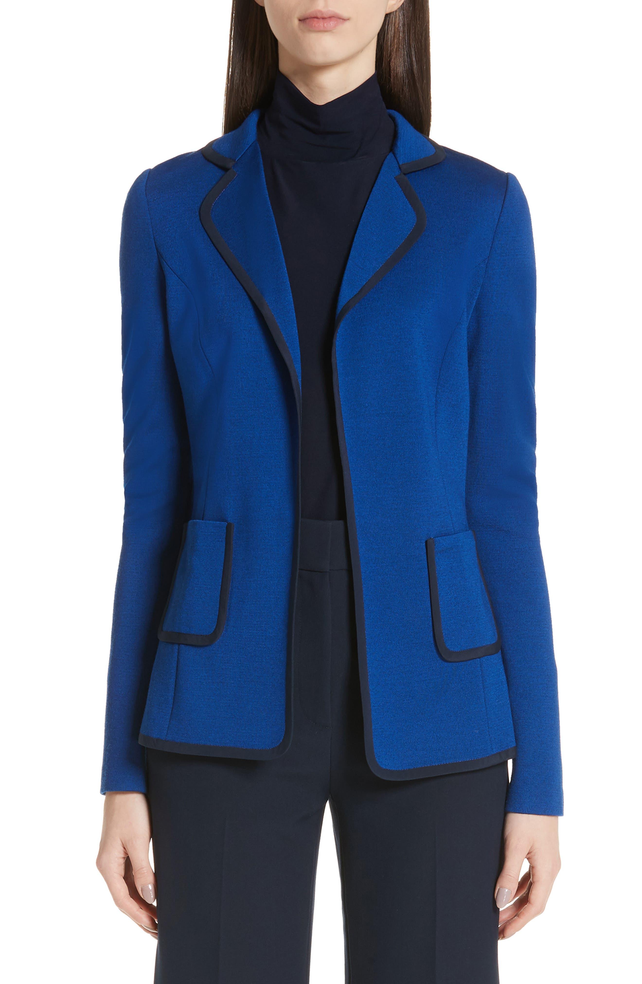 ST. JOHN COLLECTION Patch Pocket Milano Knit Jacket, Main, color, AZUL/ NAVY