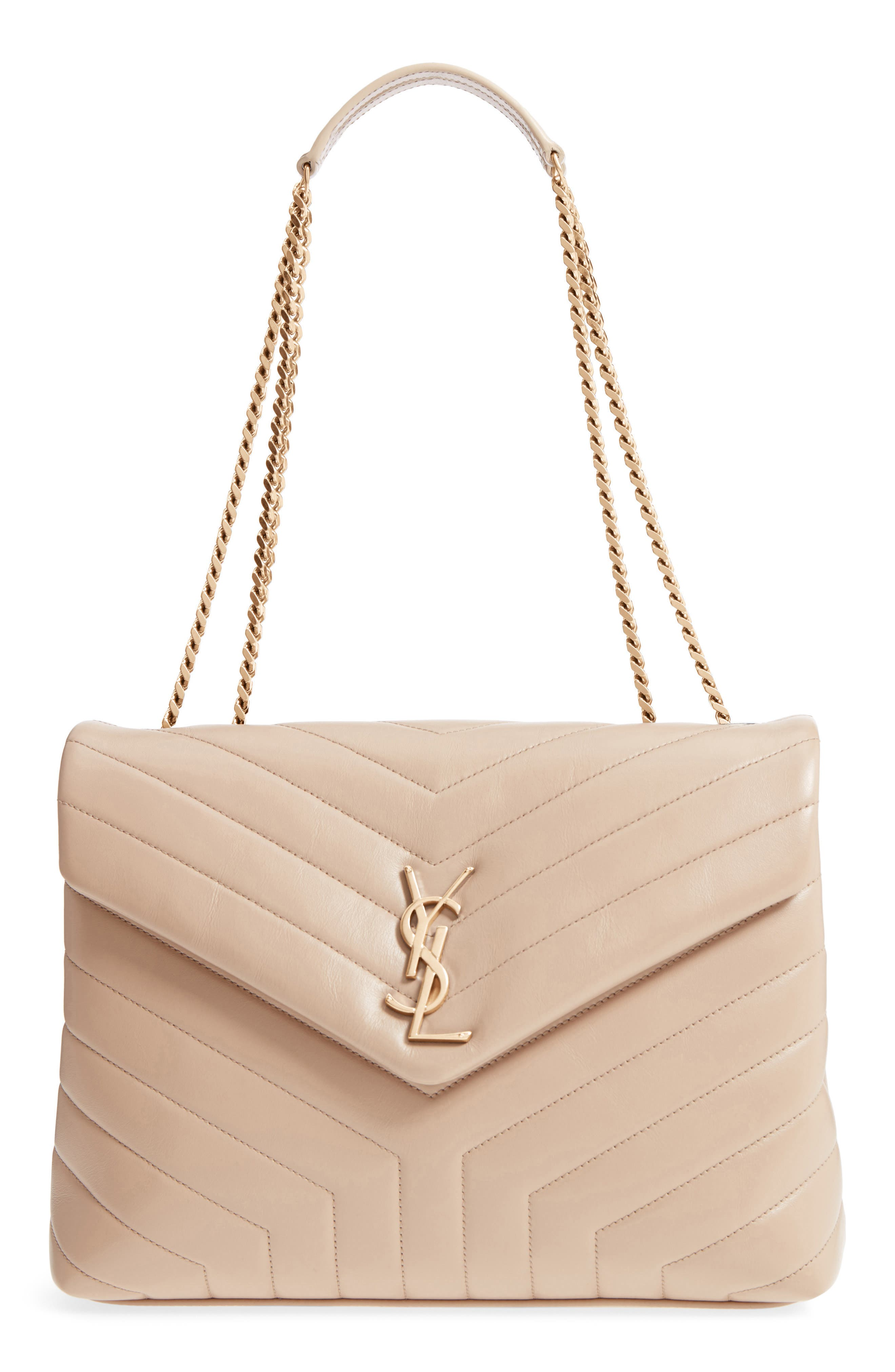 SAINT LAURENT, Medium Loulou Matelassé Calfskin Leather Shoulder Bag, Main thumbnail 1, color, LIGHT NATURAL