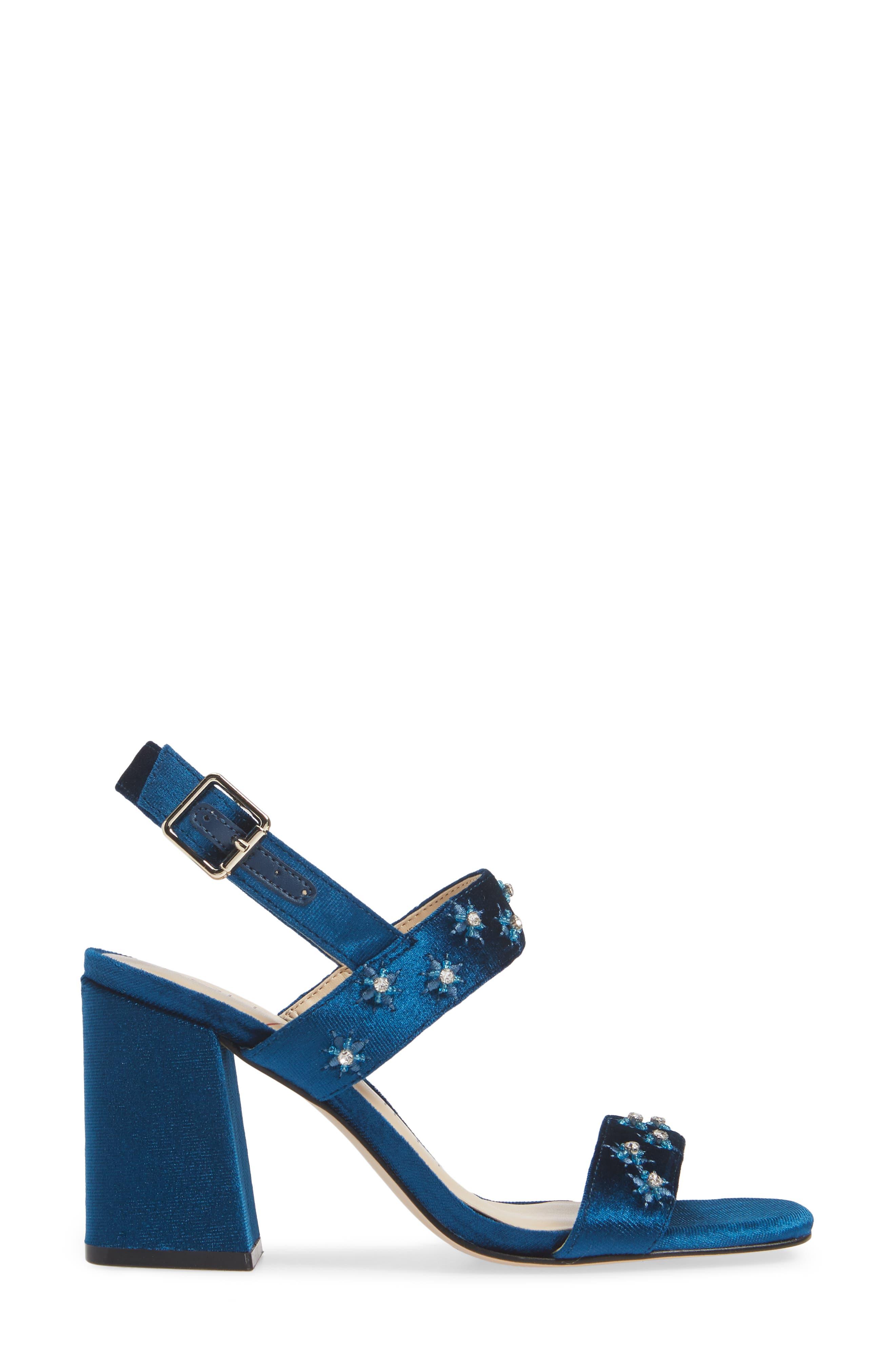 SOLE SOCIETY, Jessibel Sandal, Alternate thumbnail 3, color, CERULEAN BLUE VELVET
