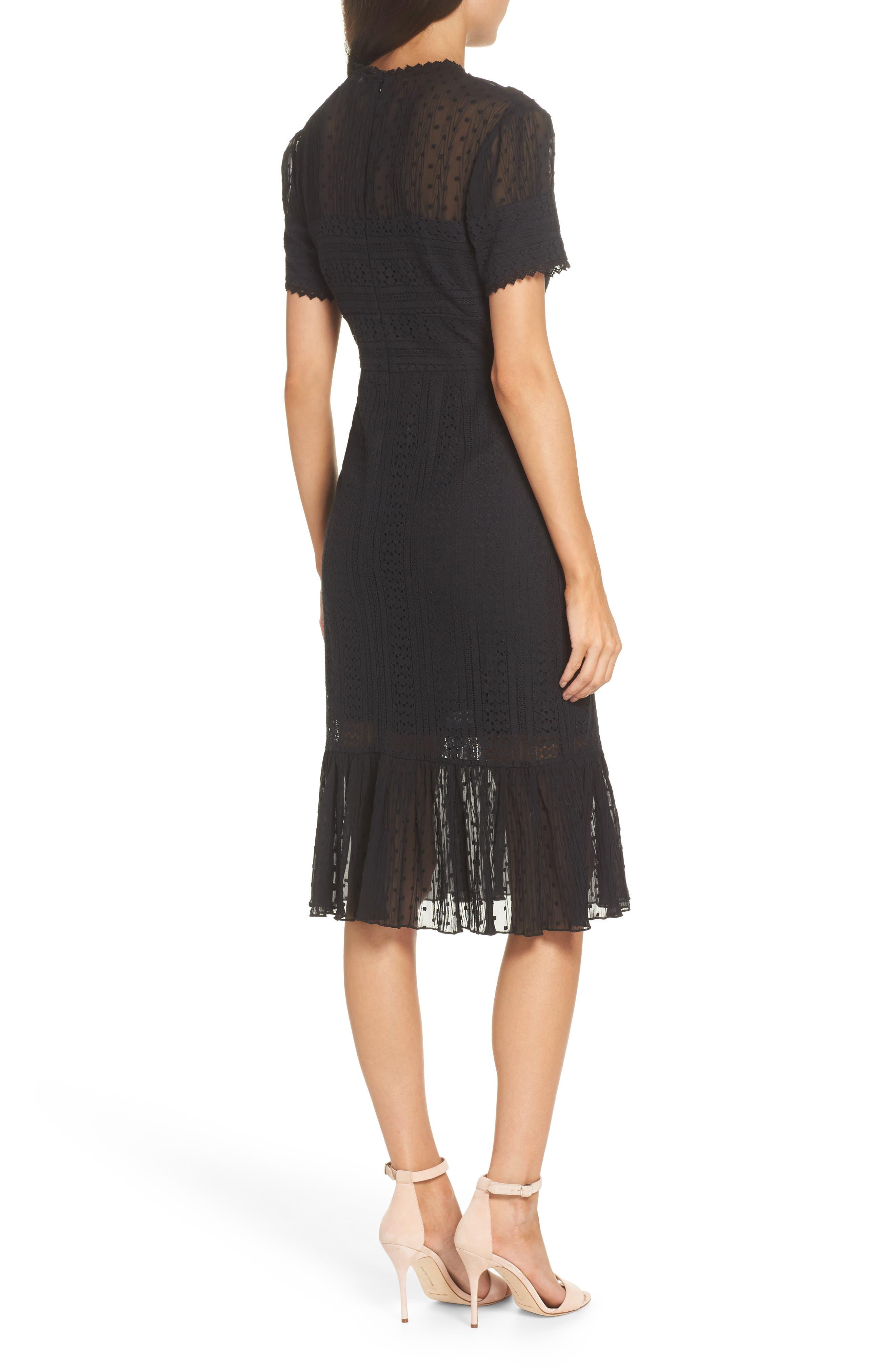 CHELSEA28, Lace & Swiss Dot Dress, Alternate thumbnail 2, color, 001