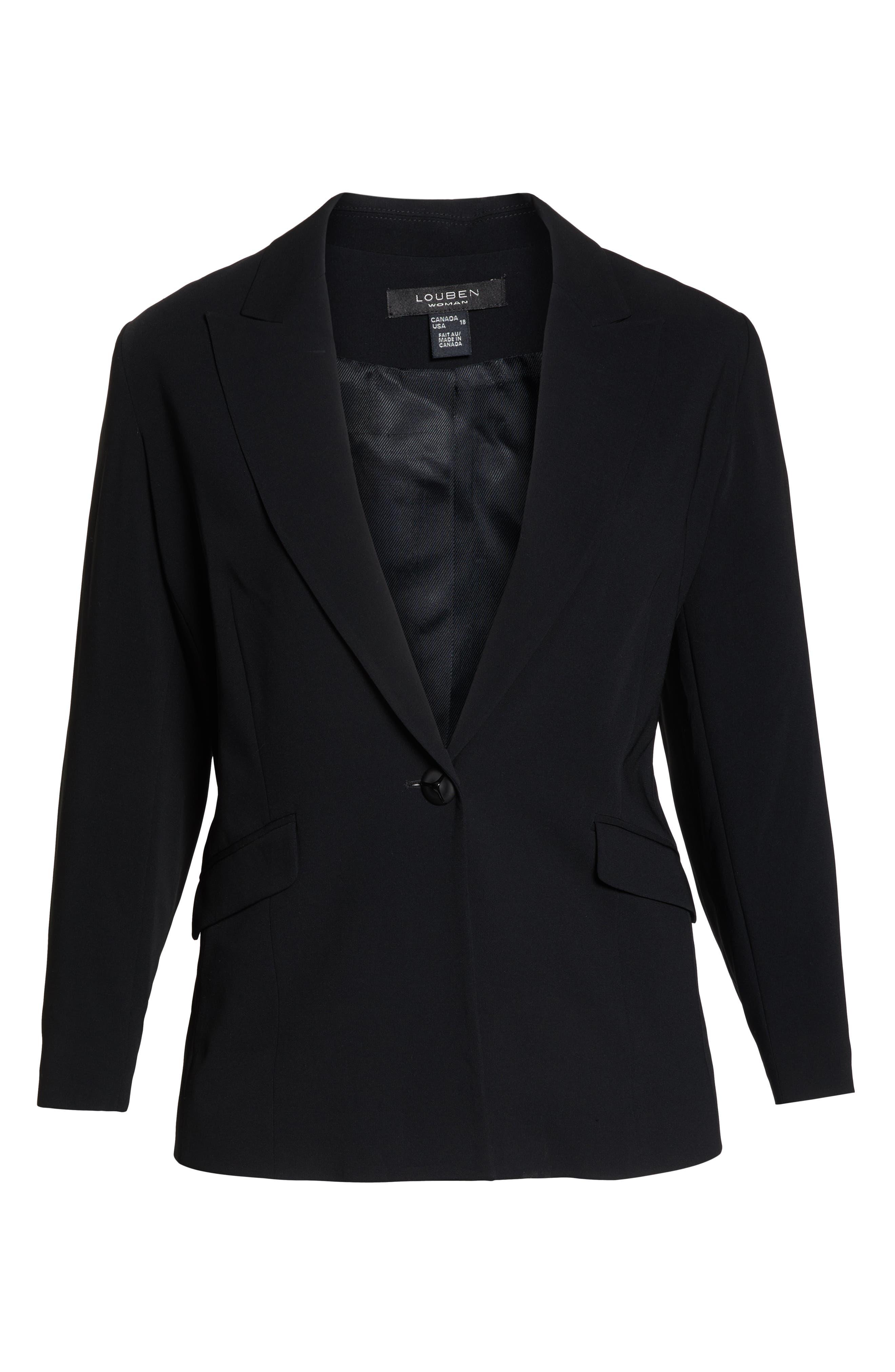LOUBEN, Peak Lapel Suit Jacket, Alternate thumbnail 4, color, BLACK