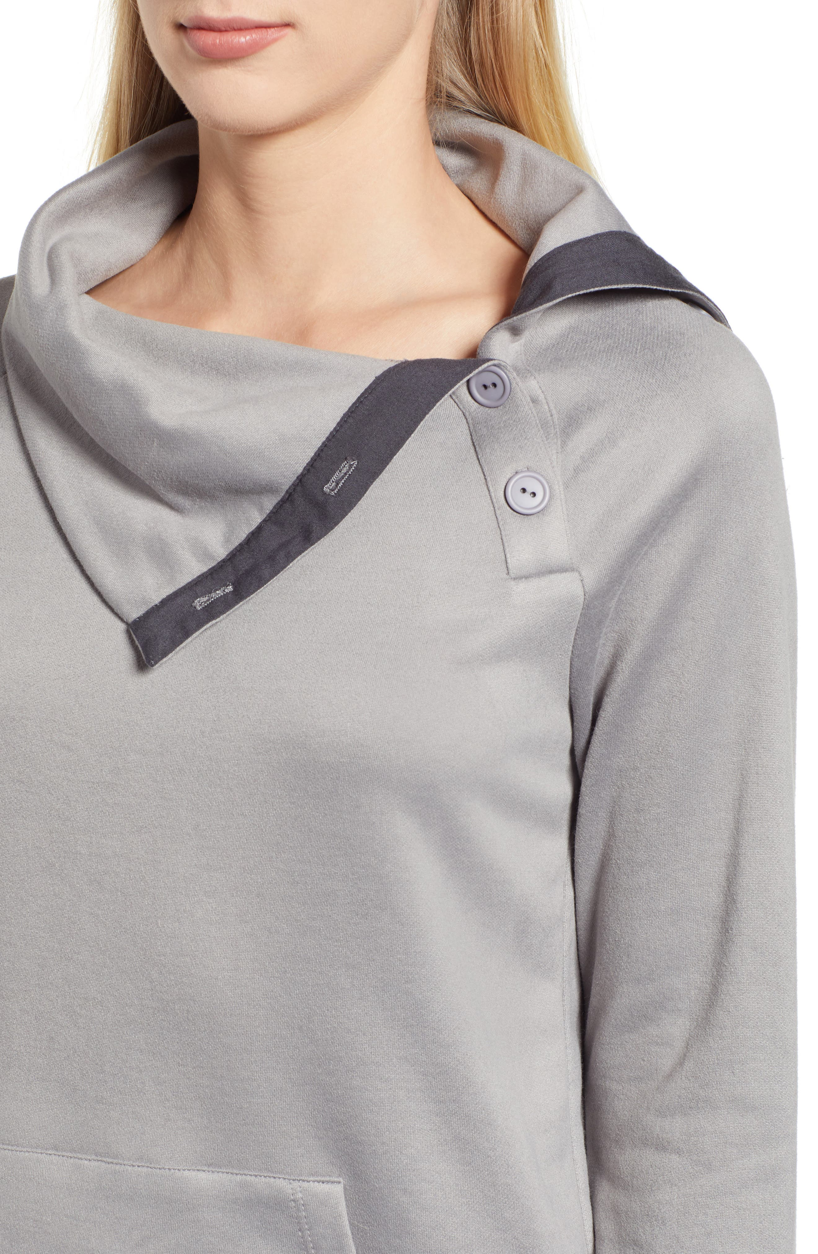 GIBSON, x Living in Yellow Judy Plush Fleece Pullover, Alternate thumbnail 4, color, GREY