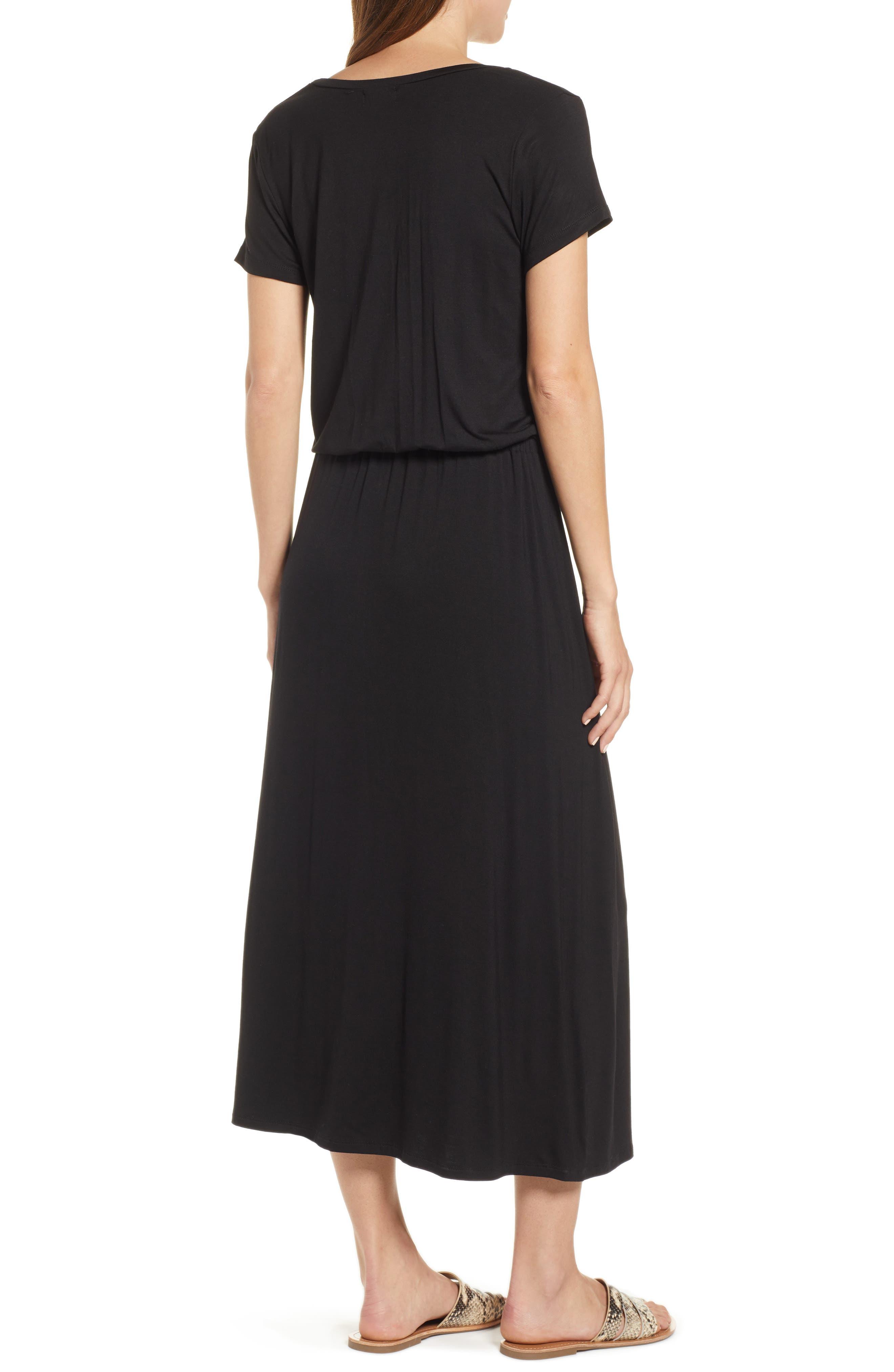 CASLON<SUP>®</SUP>, Drawstring Jersey Maxi Dress, Alternate thumbnail 4, color, 001