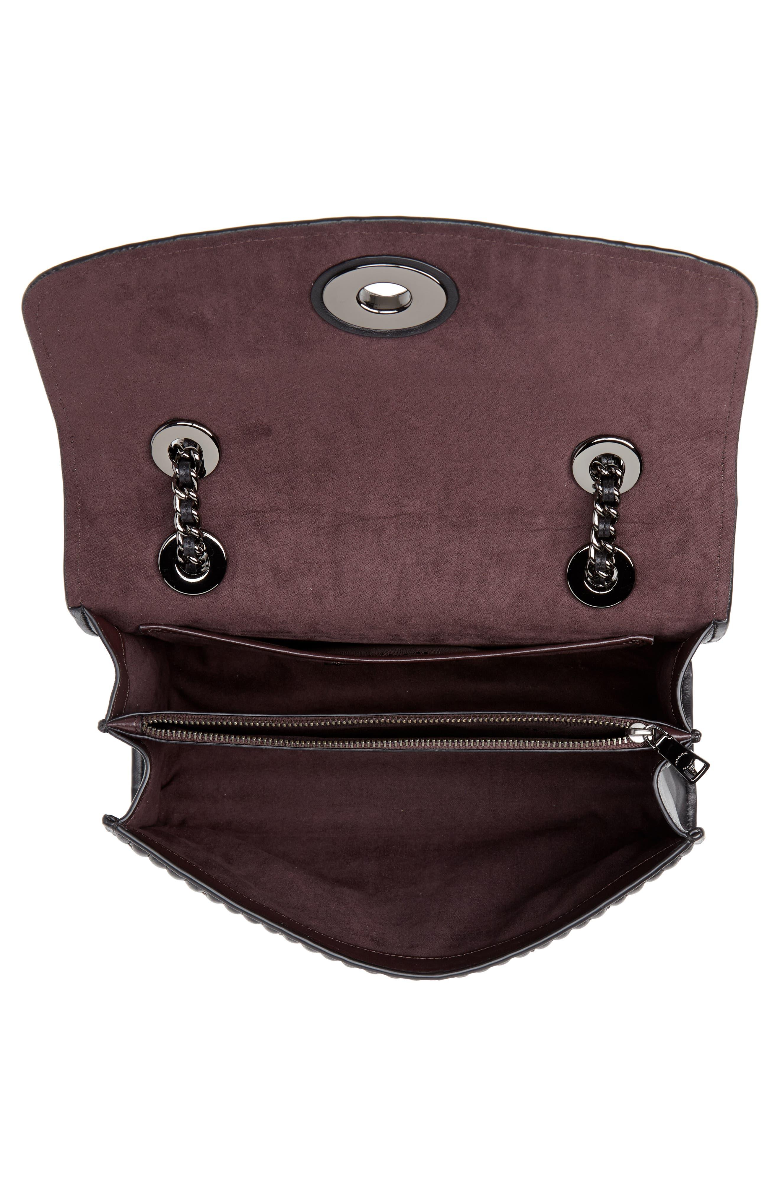 COACH, Parker Quilted Leather Shoulder Bag, Alternate thumbnail 5, color, BLACK