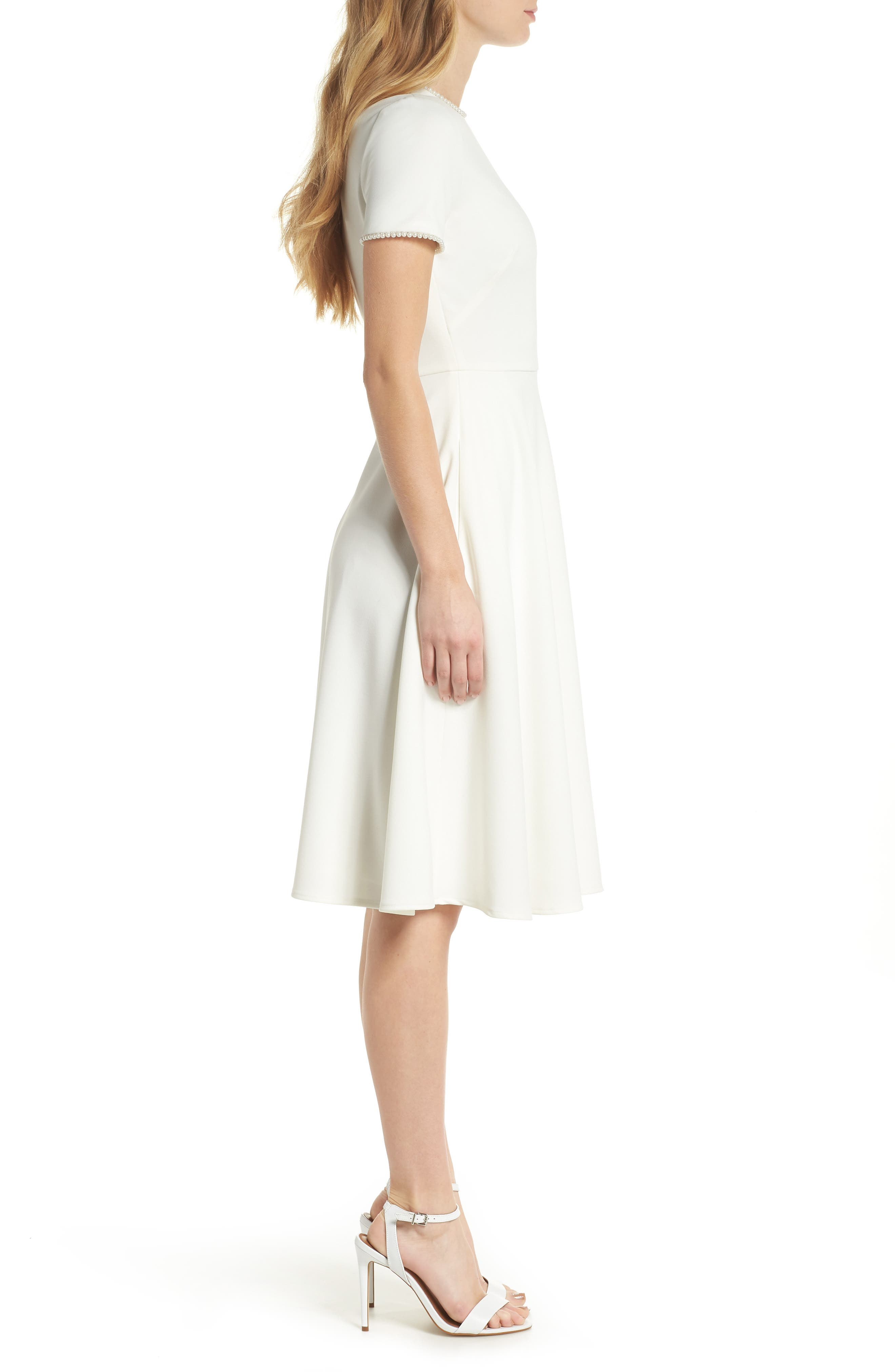 GAL MEETS GLAM COLLECTION, Victoria Pearly Trim Fit & Flare Dress, Alternate thumbnail 4, color, CREME