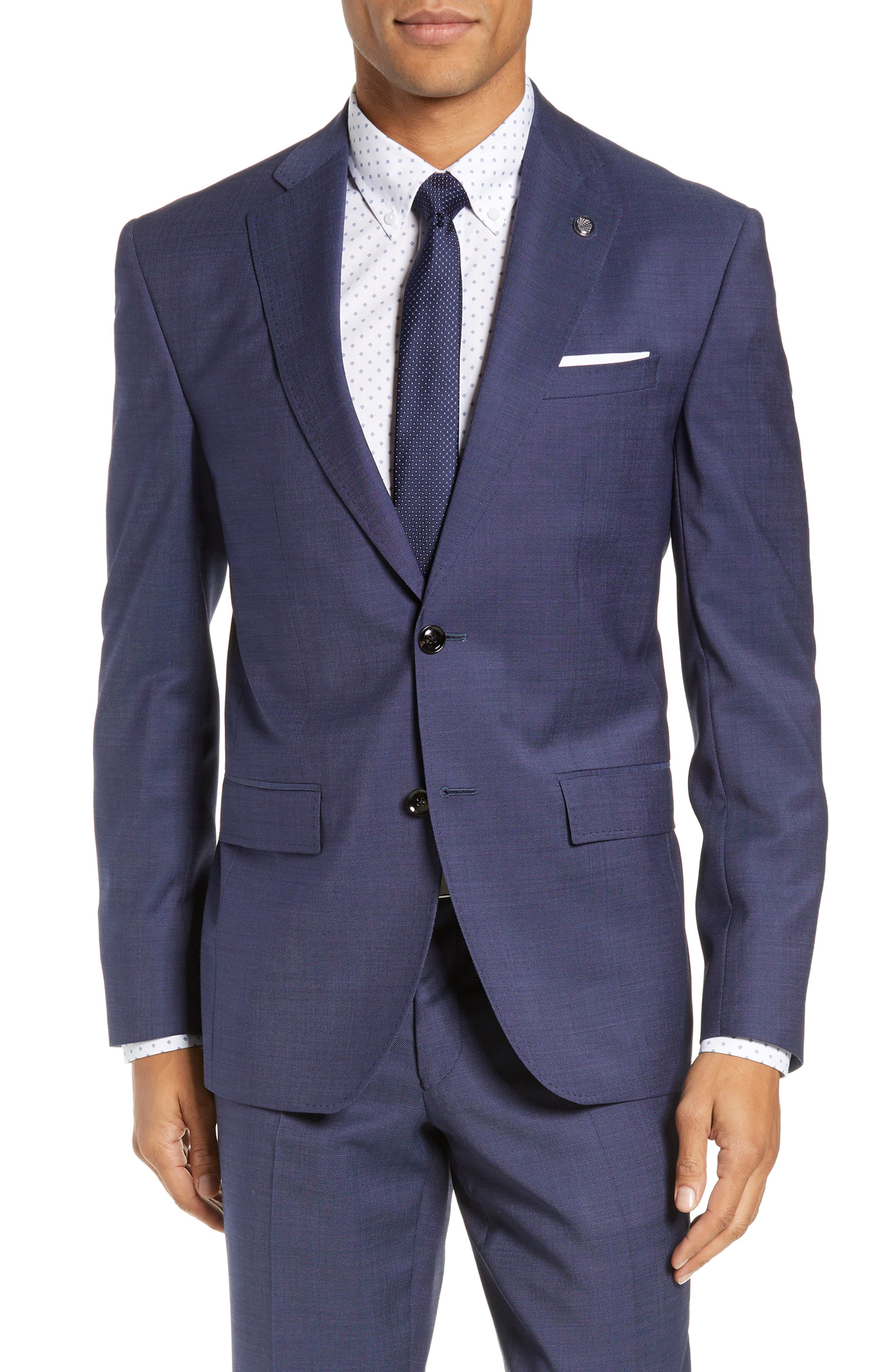 TED BAKER LONDON, Roger Slim Fit Solid Wool Suit, Alternate thumbnail 5, color, BLUE