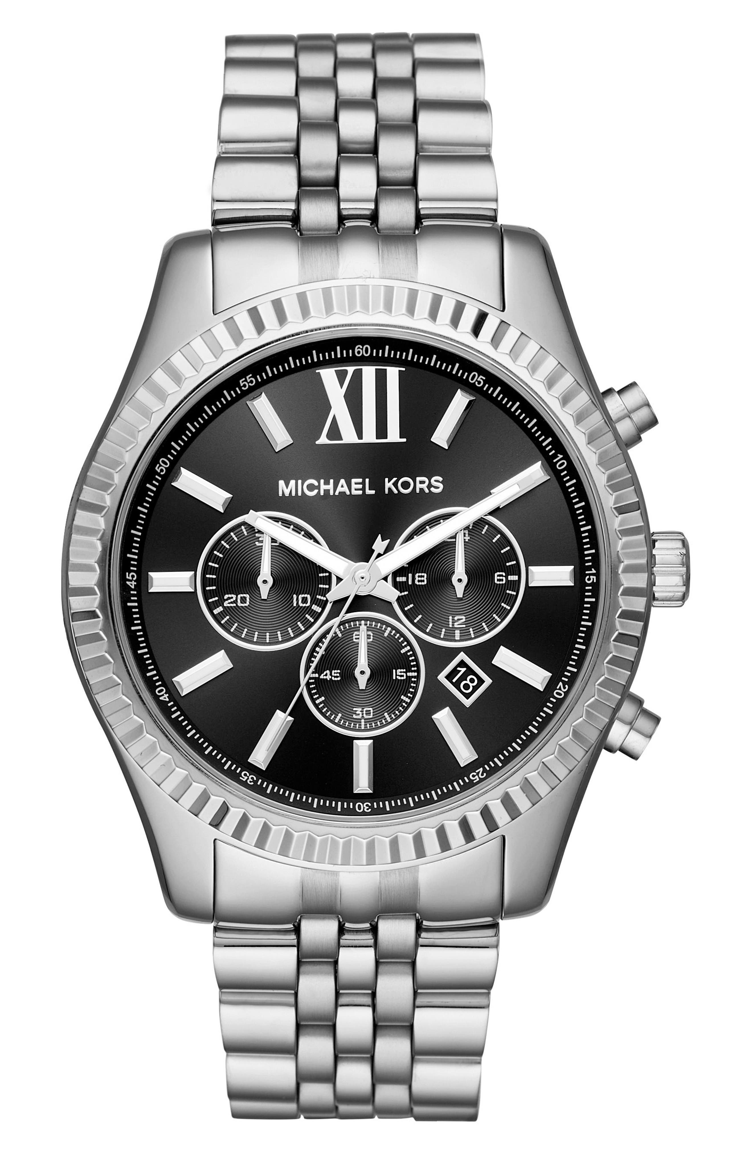 MICHAEL KORS, Lexington Bracelet Chronograph Watch, 44mm x 54mm, Main thumbnail 1, color, SILVER/ BLACK/ SILVER