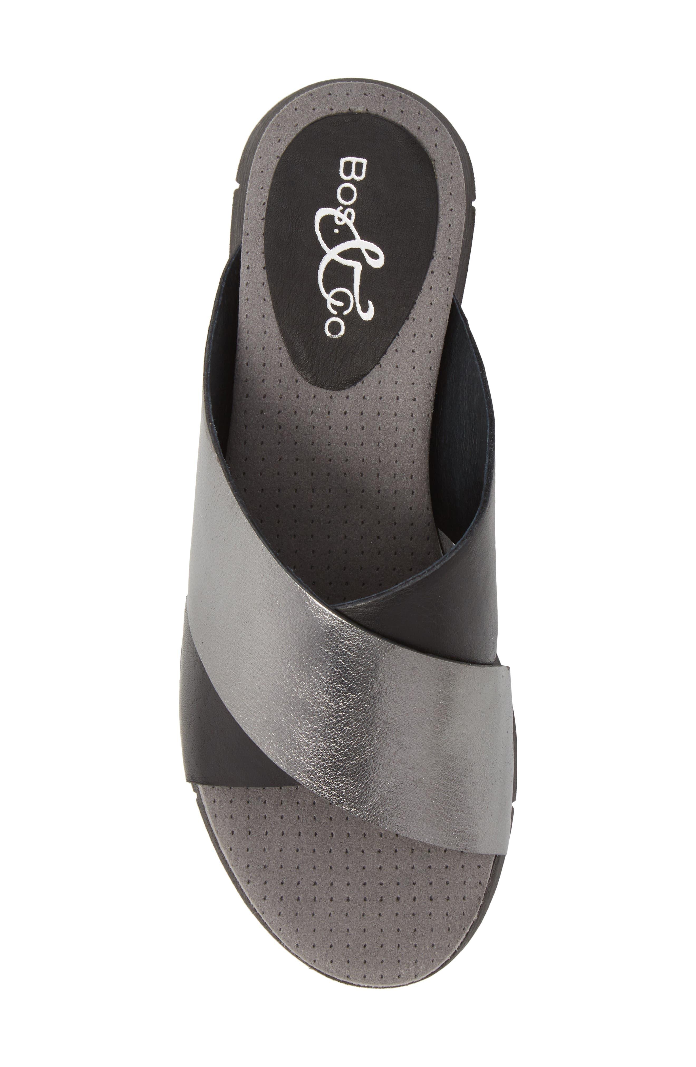 BOS. & CO., Piney Slide Sandal, Alternate thumbnail 5, color, BLACK/ PEWTER LEATHER