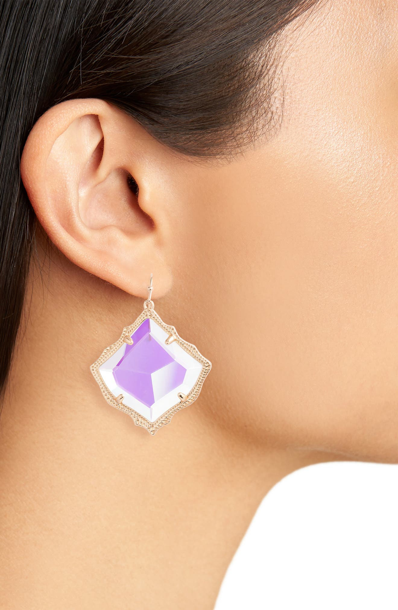 KENDRA SCOTT, Kirsten Drop Earrings, Alternate thumbnail 2, color, DICHROIC GLASS/ ROSE GOLD