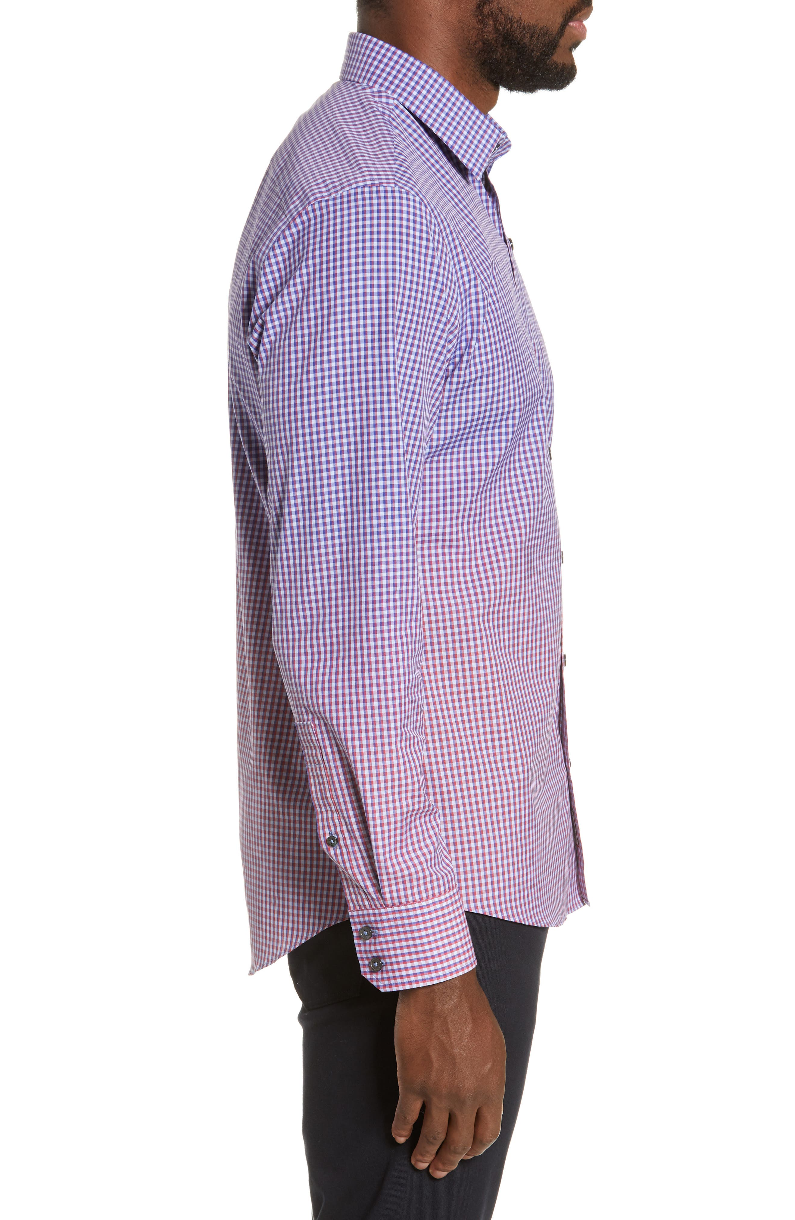 ZACHARY PRELL, Germain Regular Fit Gradient Check Sport Shirt, Alternate thumbnail 4, color, RED