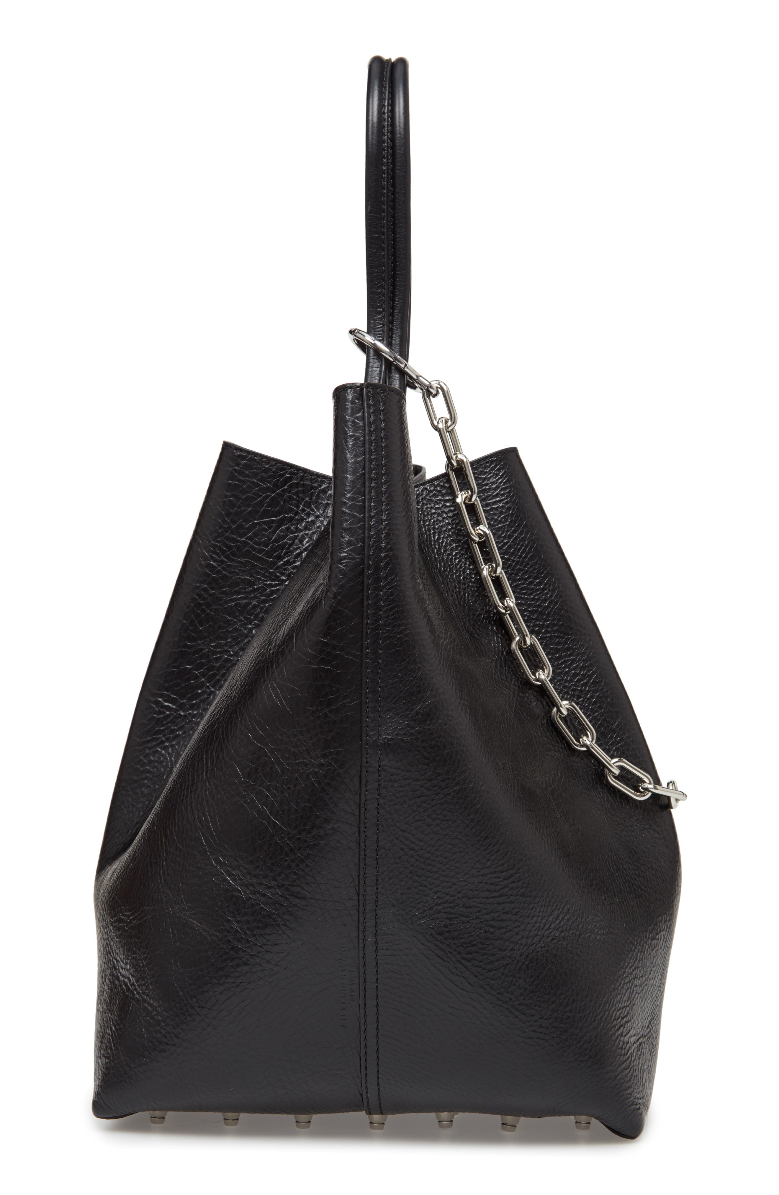 ALEXANDER WANG, Large Roxy Leather Tote Bag, Alternate thumbnail 5, color, BLACK