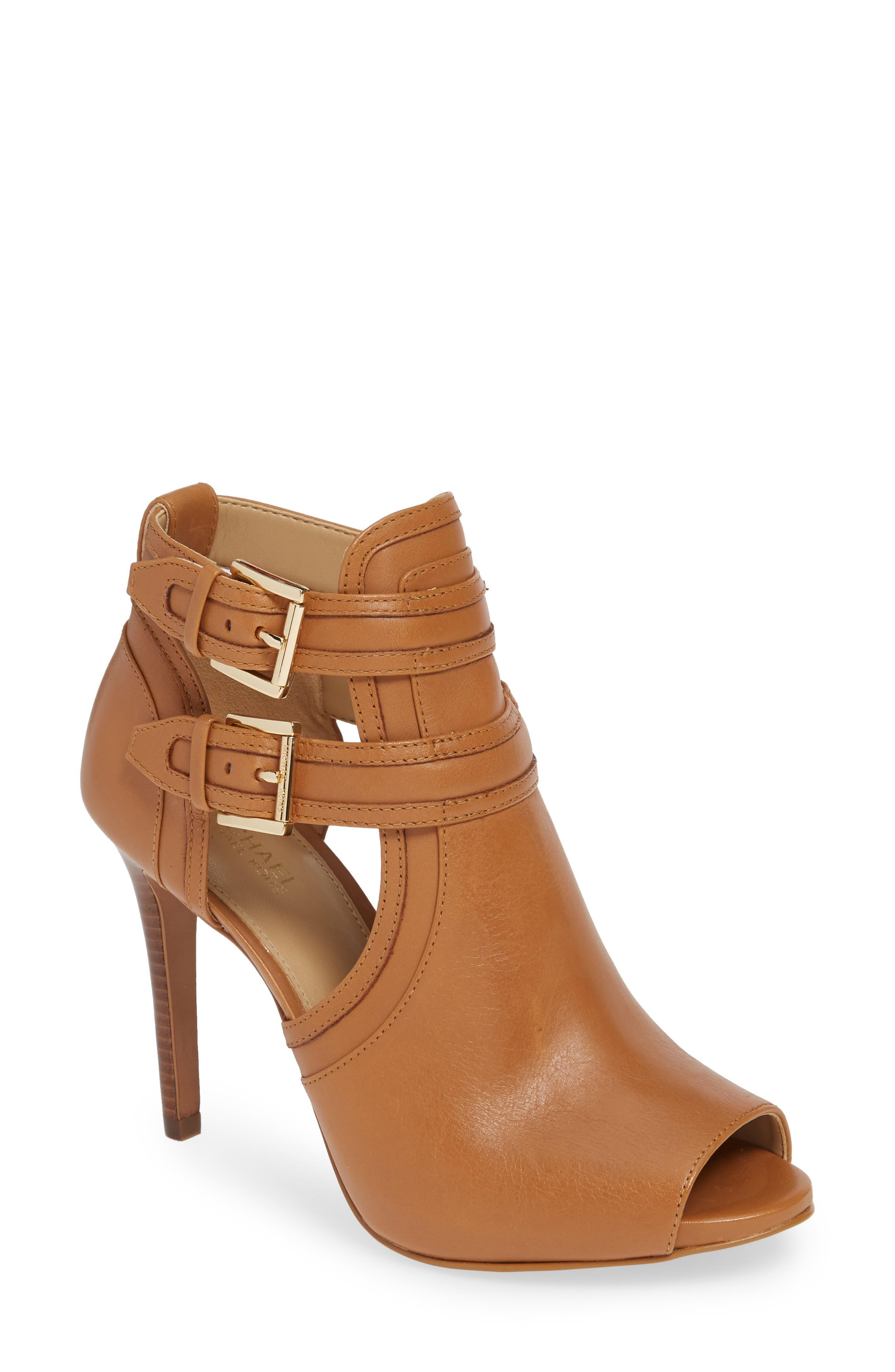MICHAEL MICHAEL KORS, Blaze Peep Toe Buckle Bootie, Main thumbnail 1, color, ACORN LEATHER