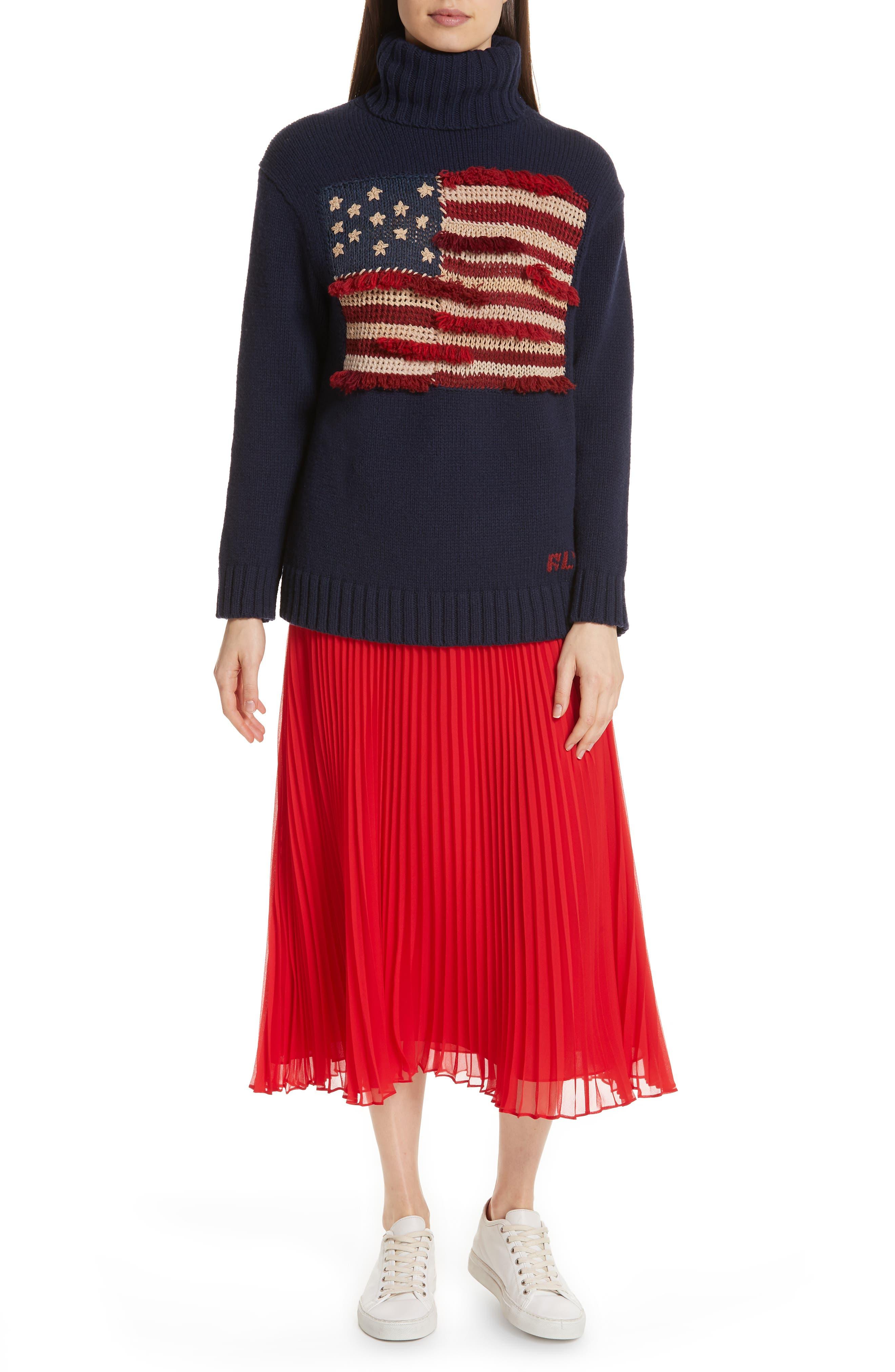 POLO RALPH LAUREN, Pleat Midi Skirt, Alternate thumbnail 7, color, PANDORA RED