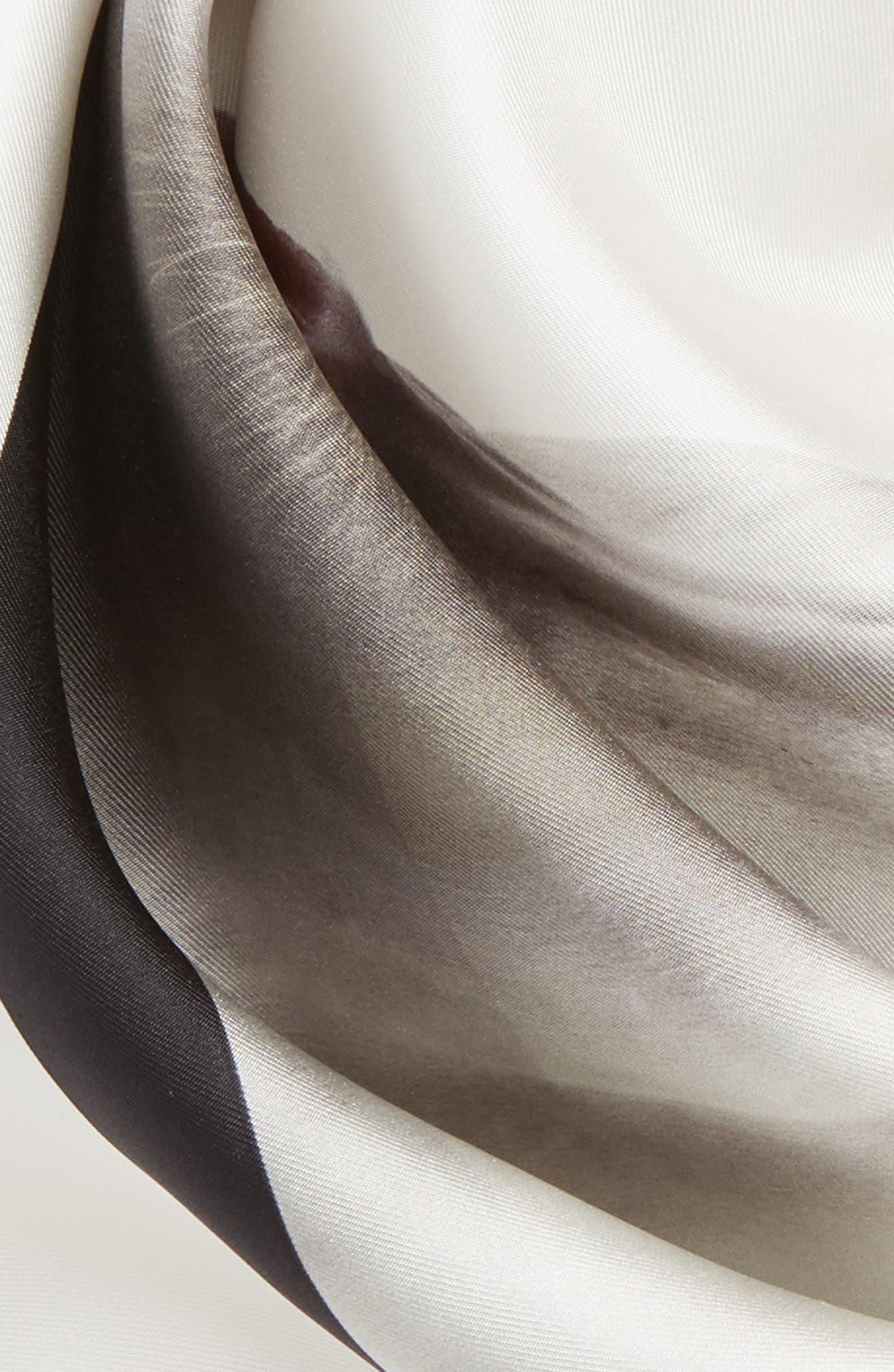 BURBERRY, Unicorn Graphic Square Silk Scarf, Alternate thumbnail 4, color, WHITE