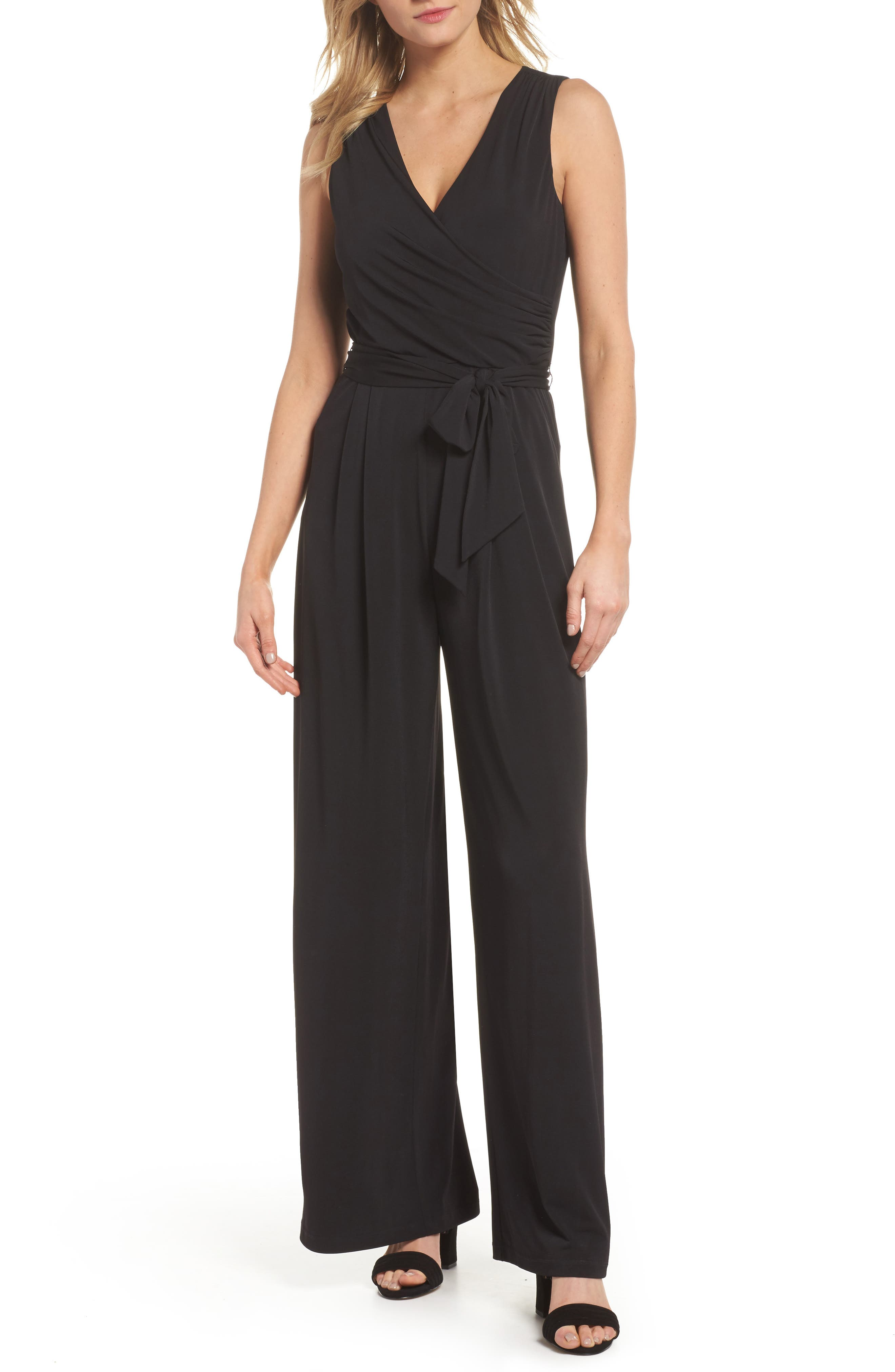 ELIZA J, Faux Wrap Wide Leg Jumpsuit, Main thumbnail 1, color, BLACK