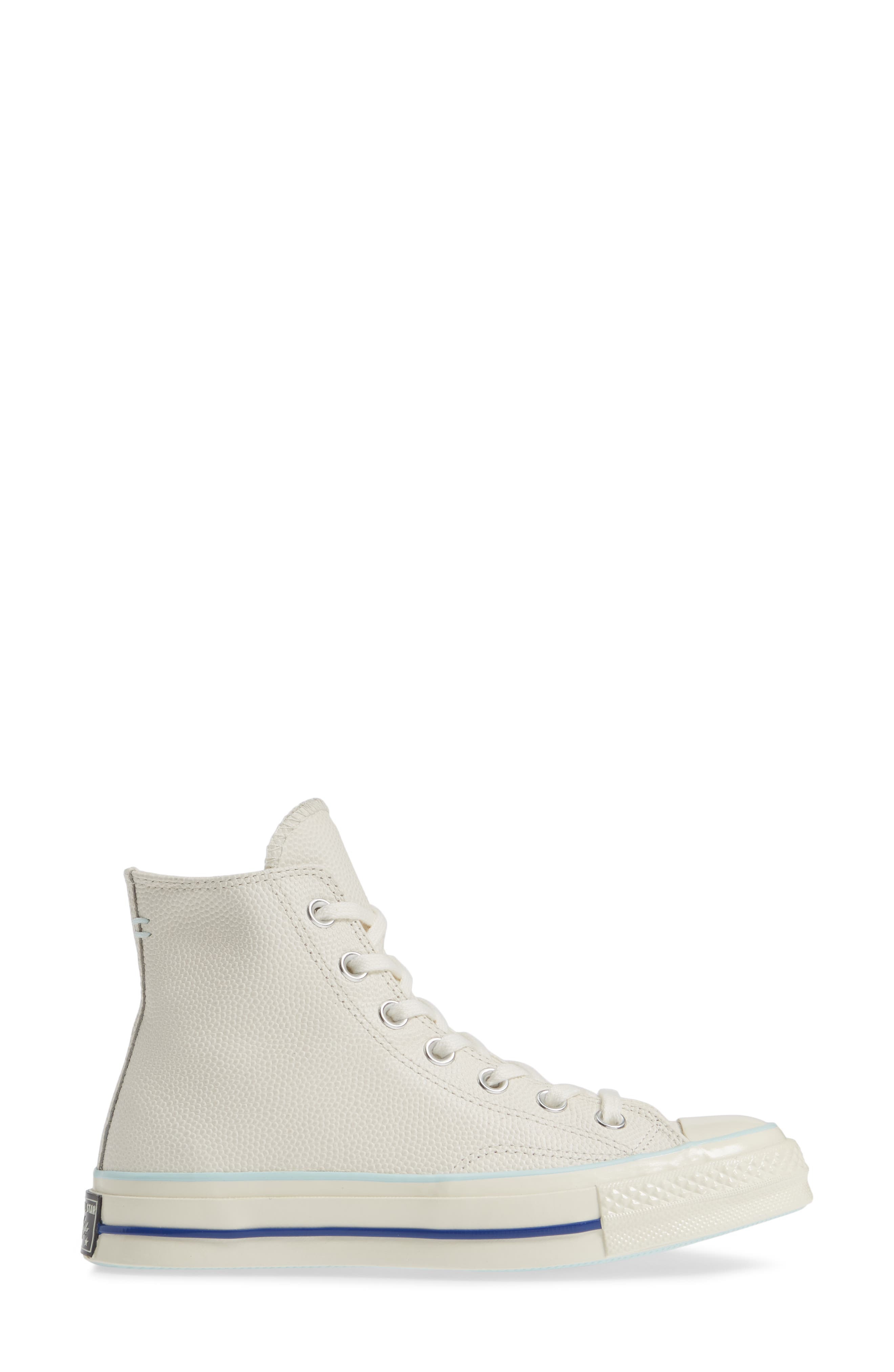 CONVERSE, Chuck Taylor<sup>®</sup> All Star<sup>®</sup> 70 High Top Leather Sneaker, Alternate thumbnail 3, color, EGRET/ TEAL TINT/ EGRET