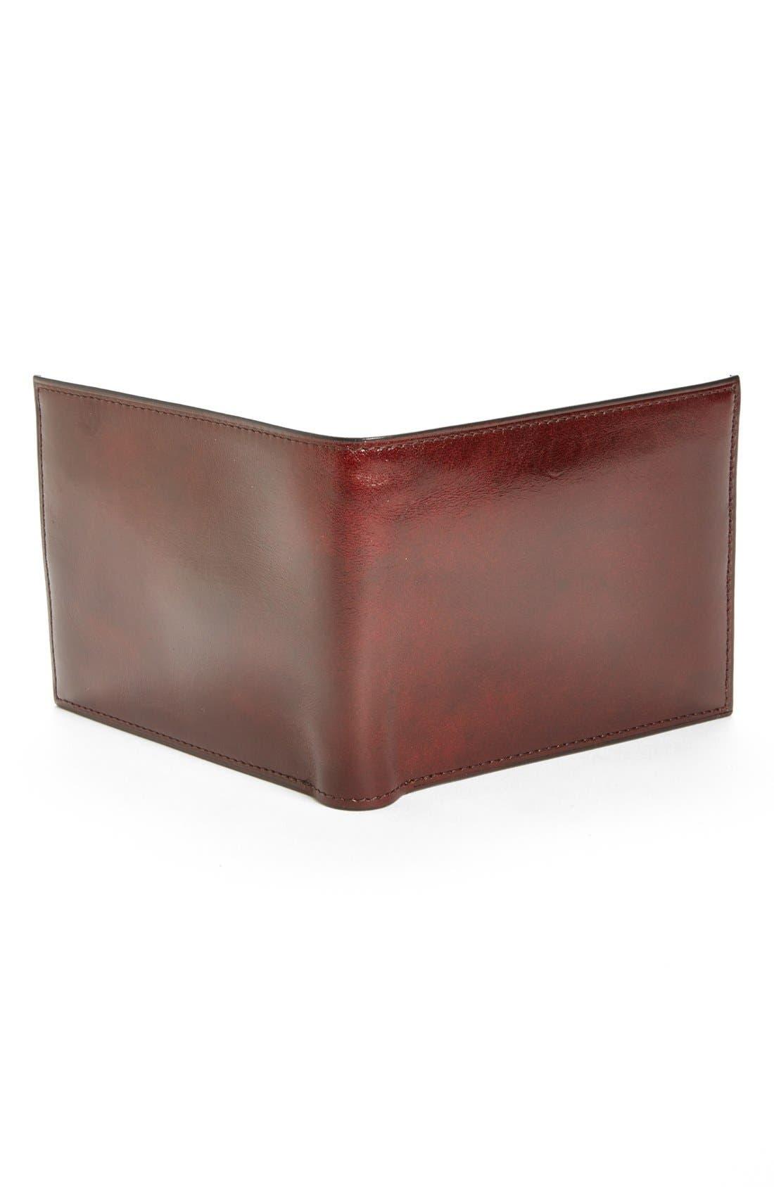 BOSCA, ID Flap Leather Wallet, Alternate thumbnail 2, color, DARK BROWN