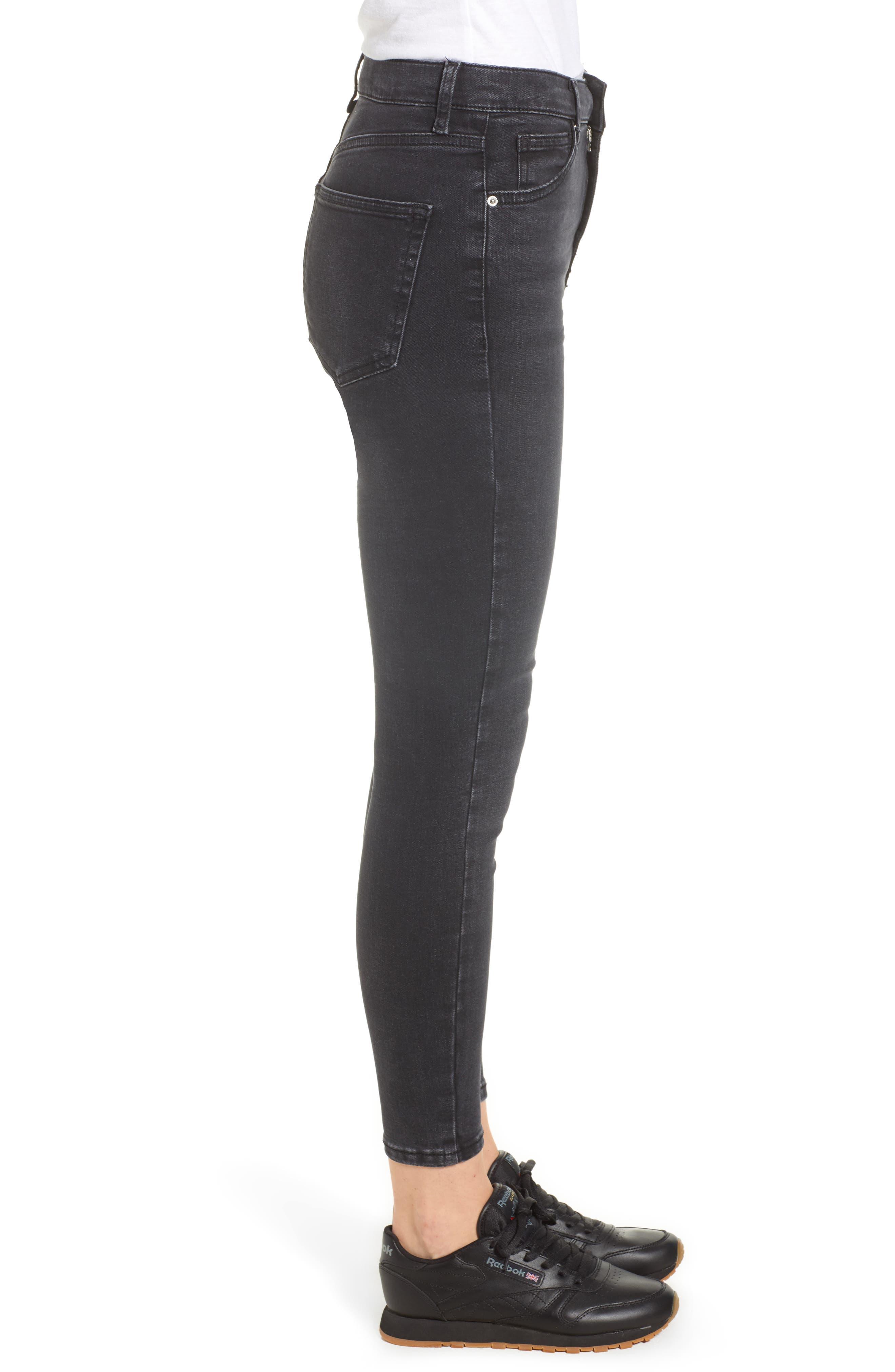 TOPSHOP, Jamie Jeans, Alternate thumbnail 4, color, WASHED BLACK