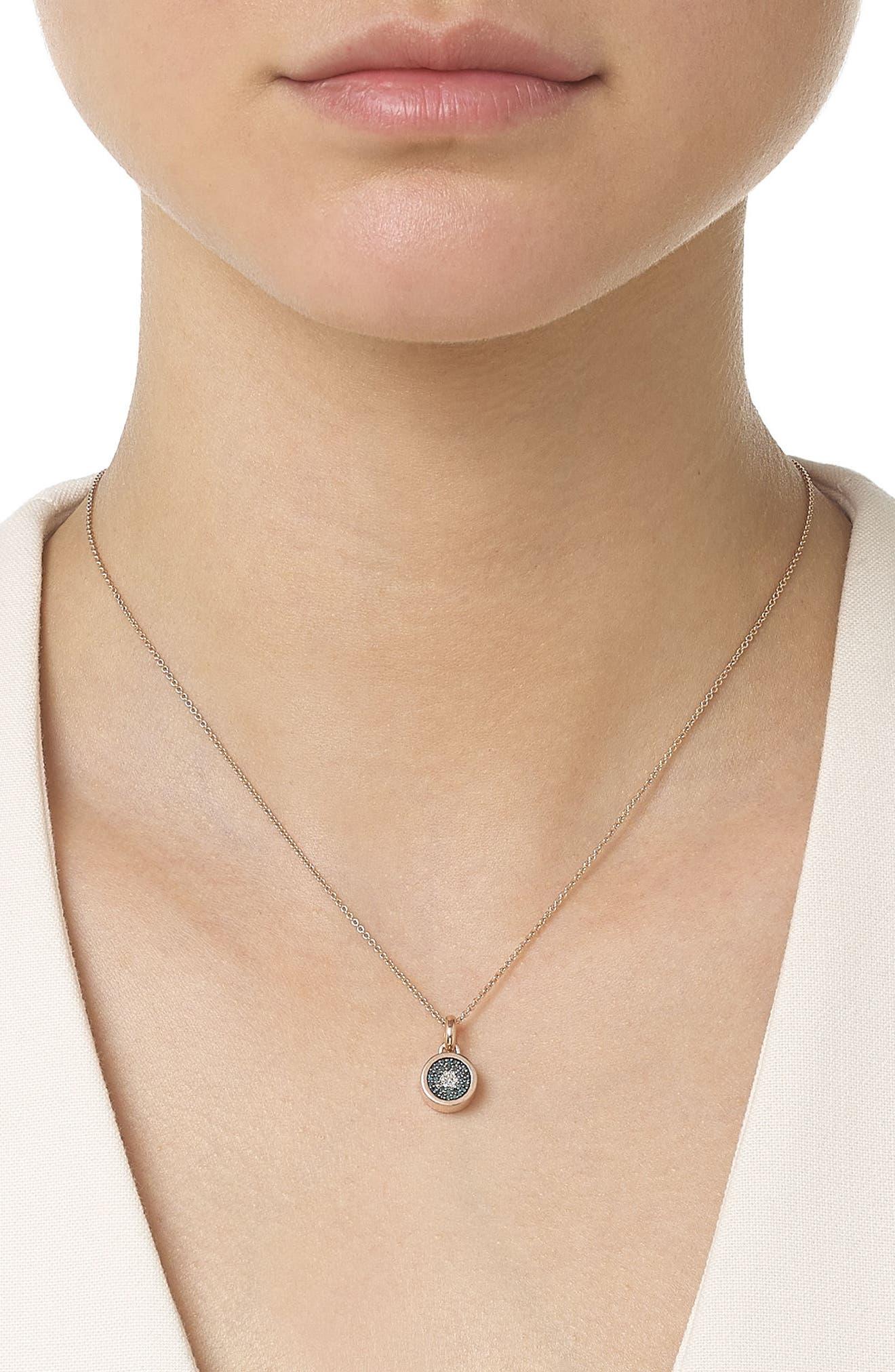 MONICA VINADER, Evil Eye Diamond Pendant Charm, Alternate thumbnail 2, color, ROSE GOLD/ DIAMOND