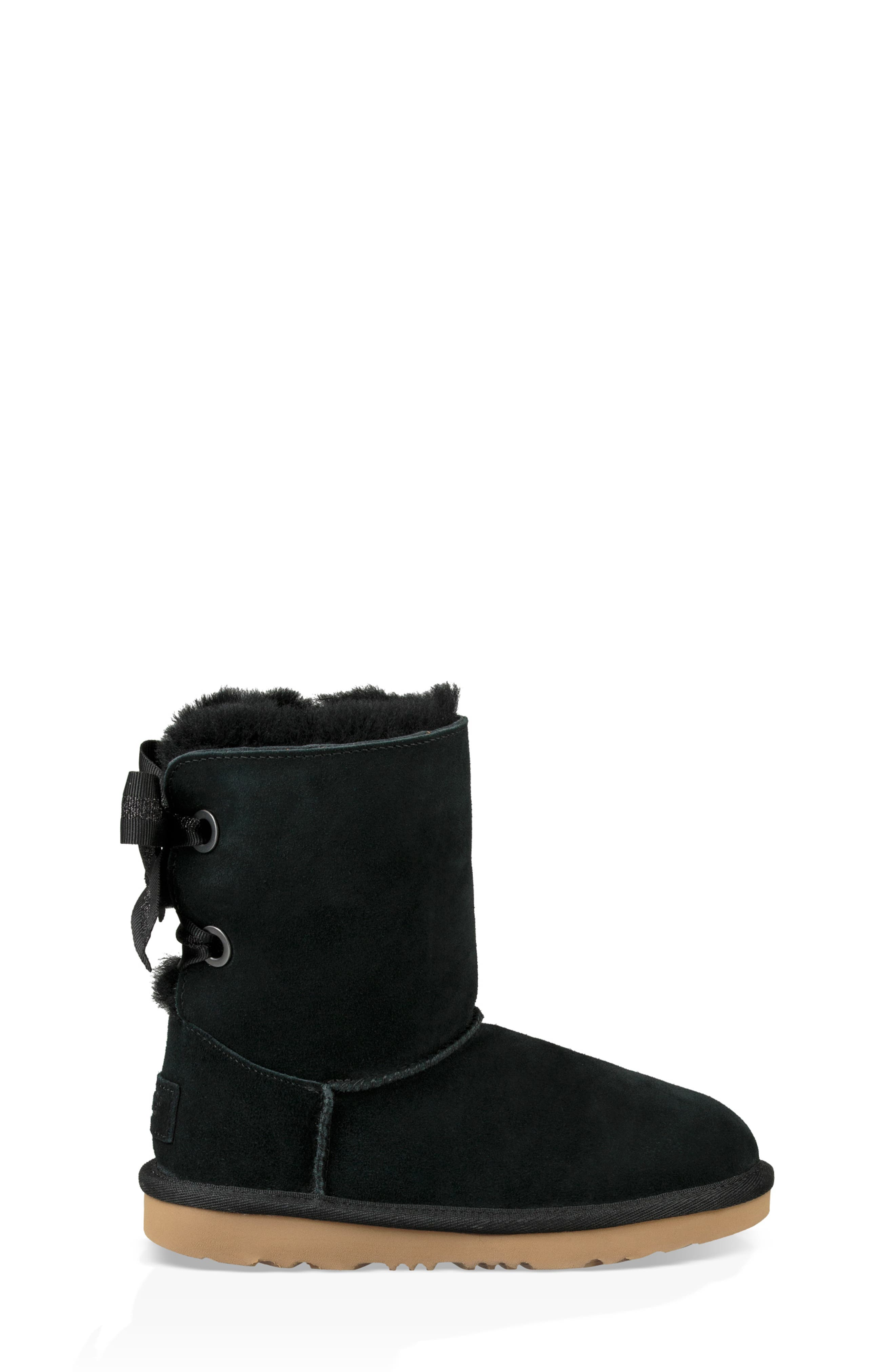 UGG<SUP>®</SUP>, Customizable Bailey Bow II Genuine Shearling Boot, Alternate thumbnail 3, color, BLACK