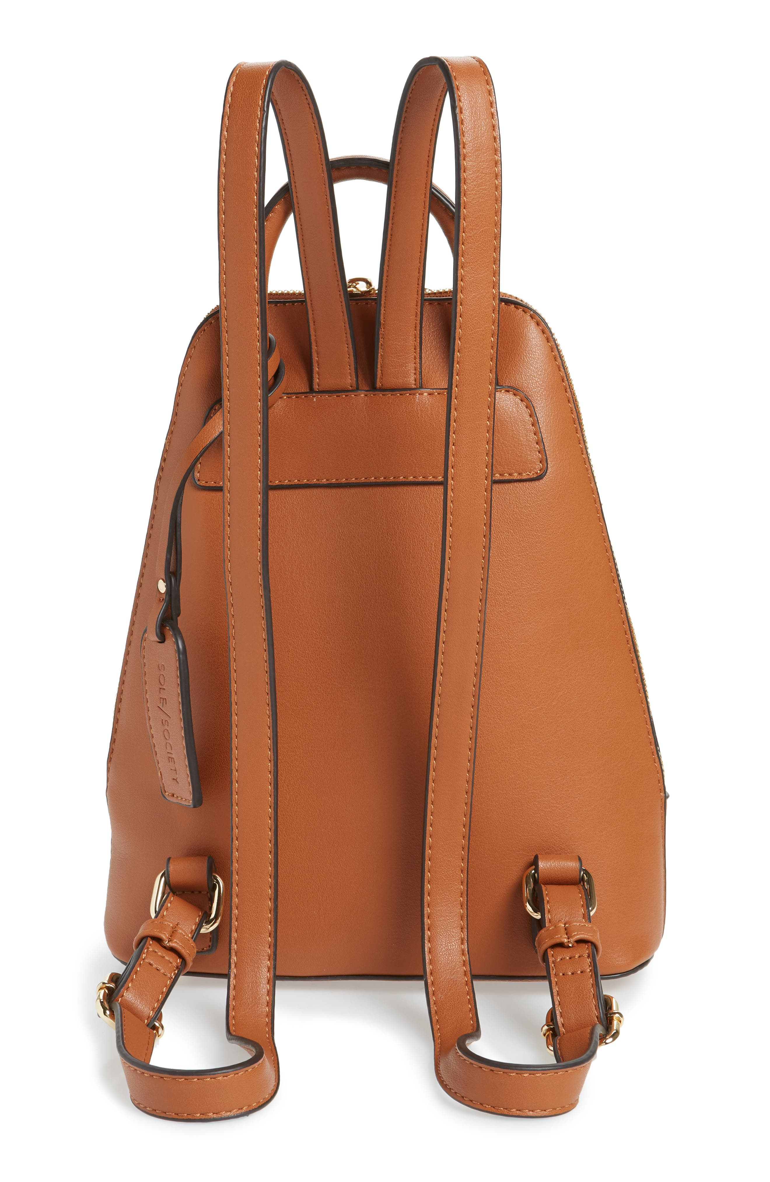 SOLE SOCIETY, Aushan Faux Leather Backpack, Alternate thumbnail 4, color, COGNAC