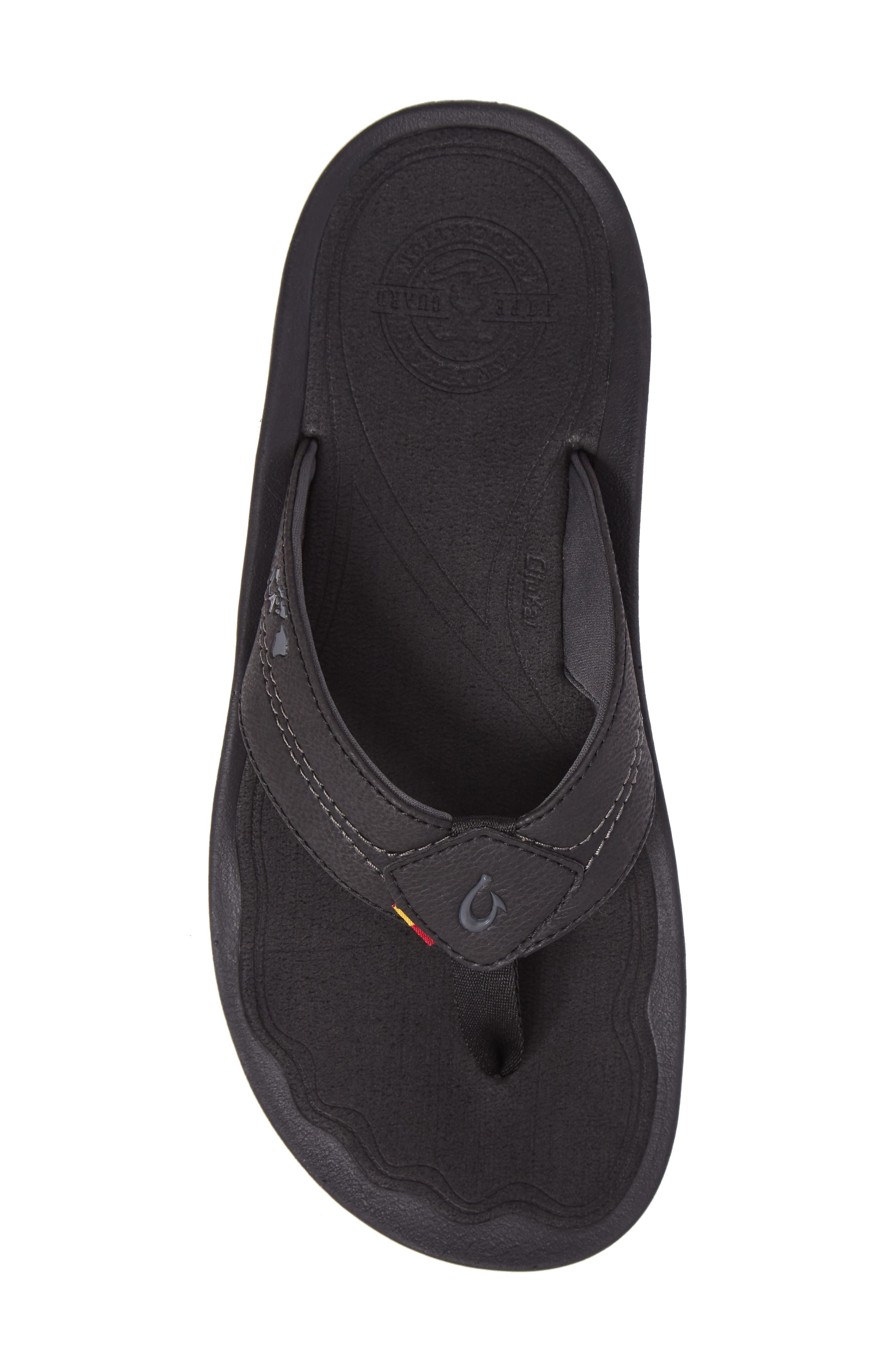 OLUKAI, Kipi Flip Flop, Alternate thumbnail 5, color, BLACK/ BLACK