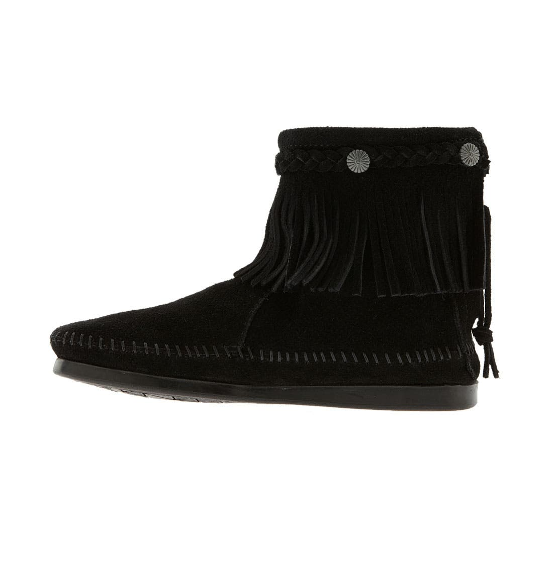 MINNETONKA, Fringed Moccasin Bootie, Alternate thumbnail 4, color, BLACK