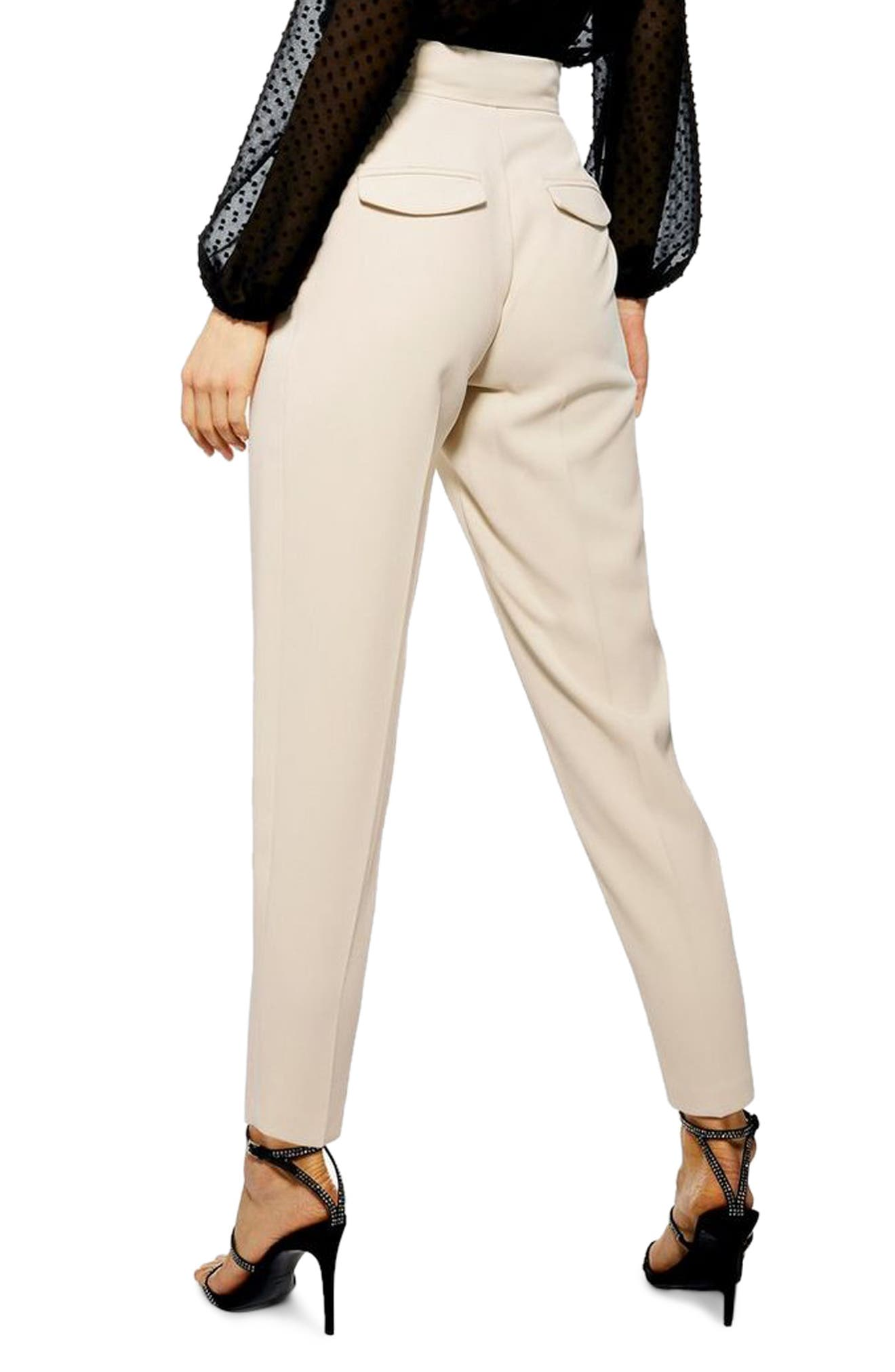 TOPSHOP, Betty Peg Trousers, Alternate thumbnail 2, color, STONE