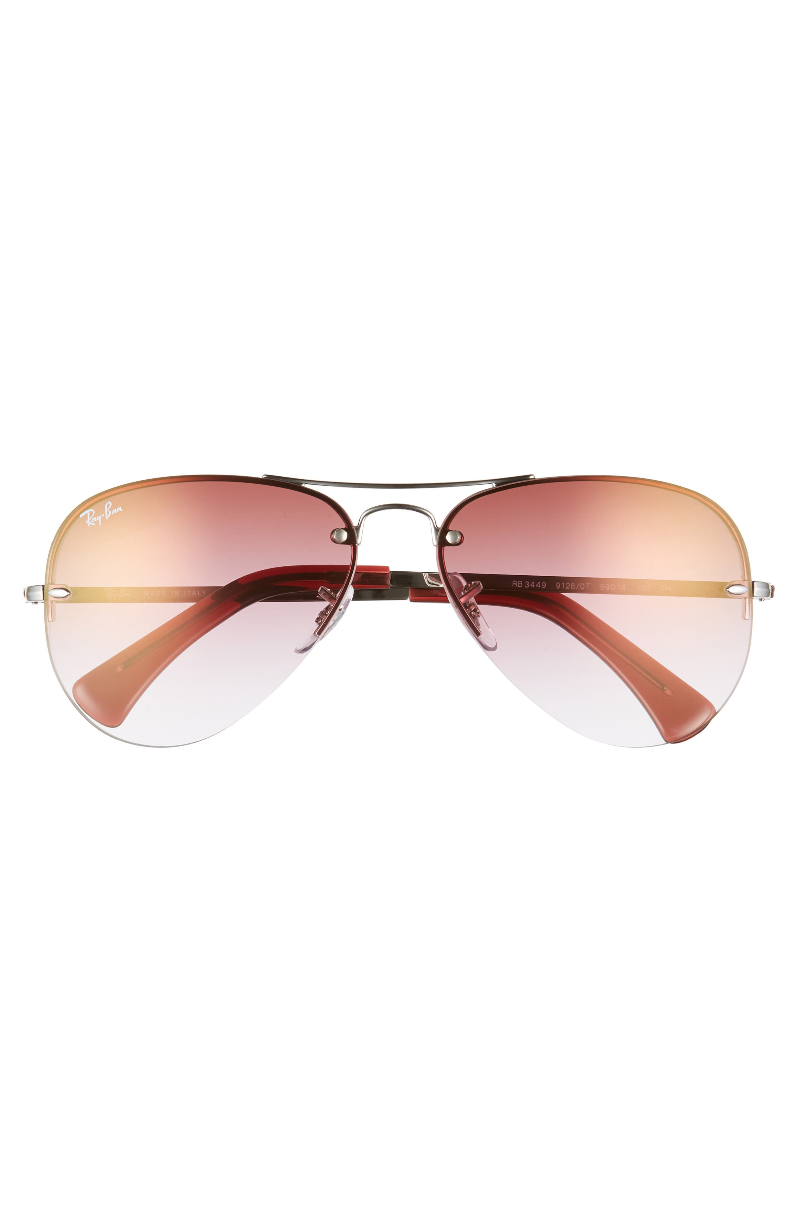 RAY-BAN, Highstreet 59mm Semi Rimless Aviator Sunglasses, Alternate thumbnail 3, color, SILVER/ BORDEAUX GRADIENT