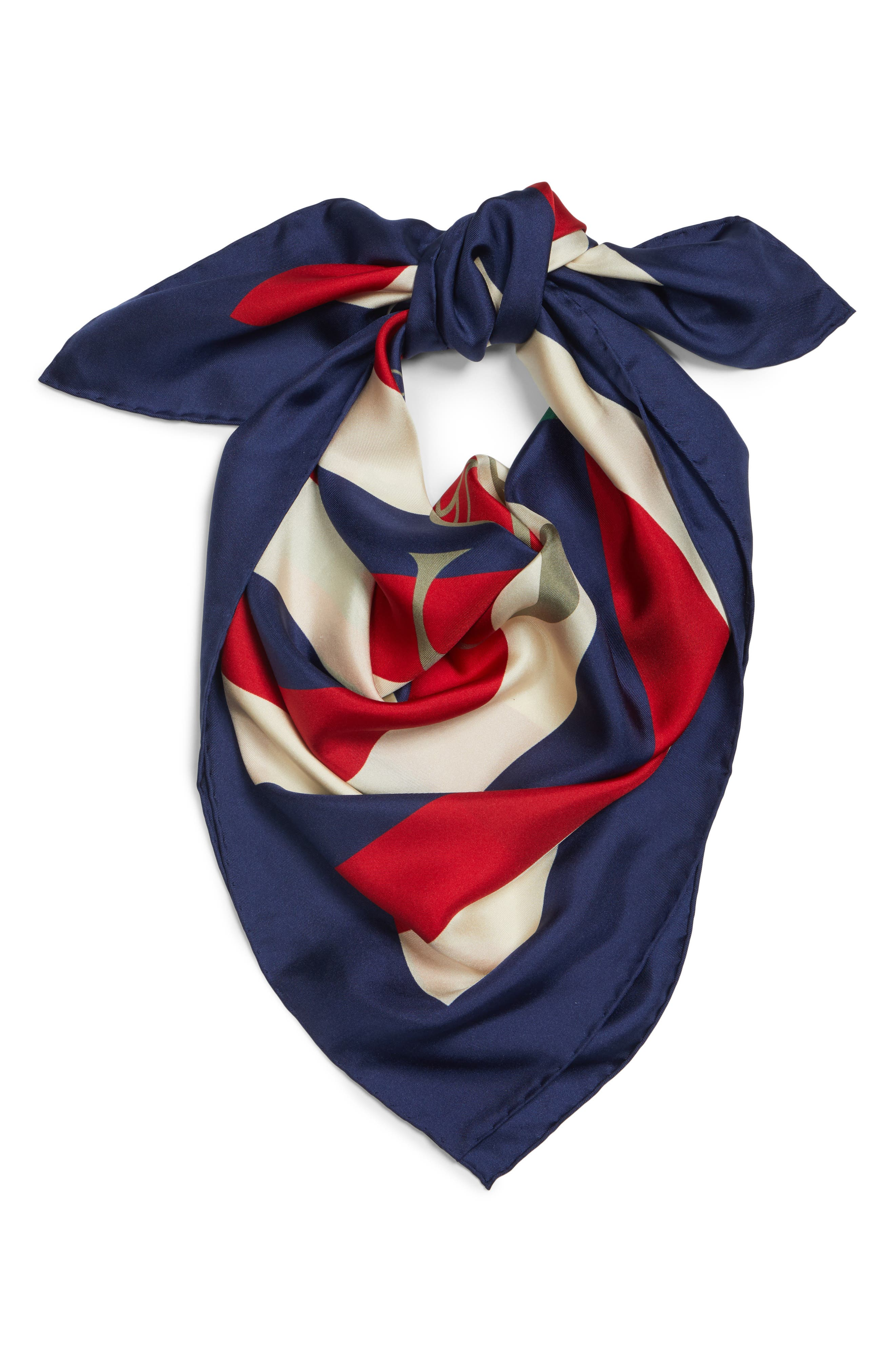 GUCCI, Sylvie Stripe Silk Scarf, Alternate thumbnail 3, color, IVORY/ BLUE