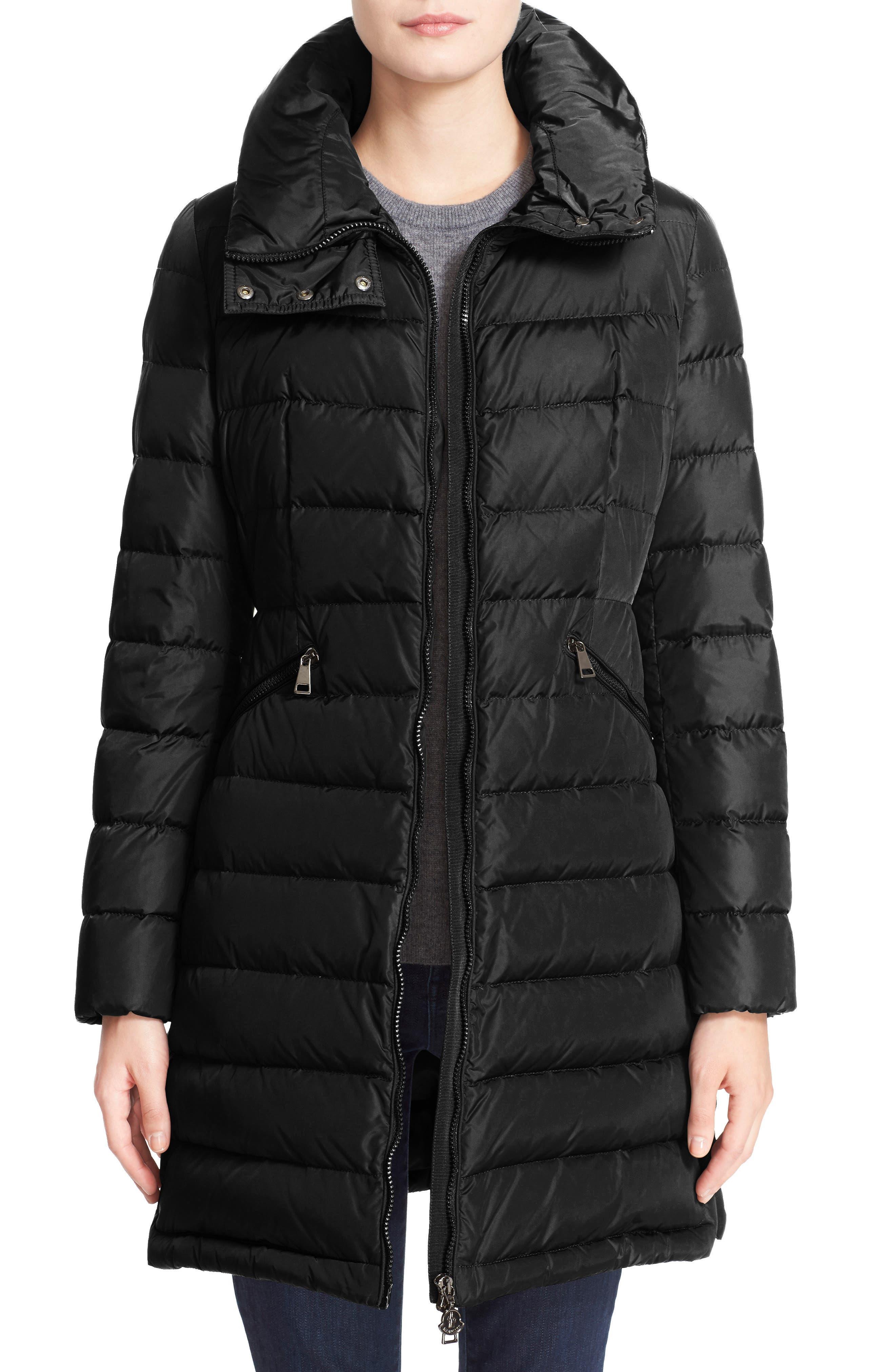 MONCLER 'Flammette' Water Resistant Long Hooded Down Coat, Main, color, BLK