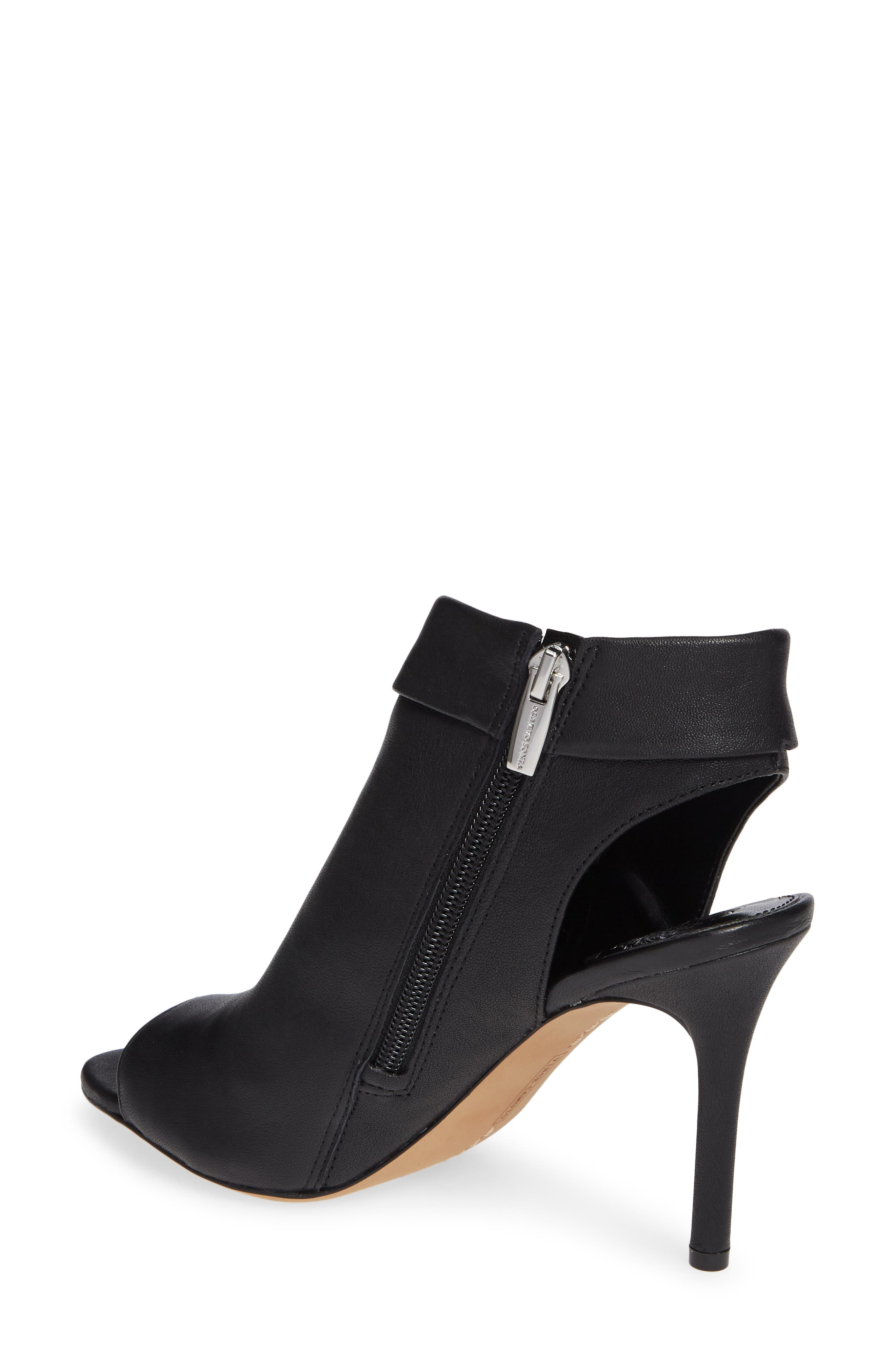 VINCE CAMUTO, Cholia Asymmetrical Sandal Bootie, Alternate thumbnail 2, color, BLACK LEATHER