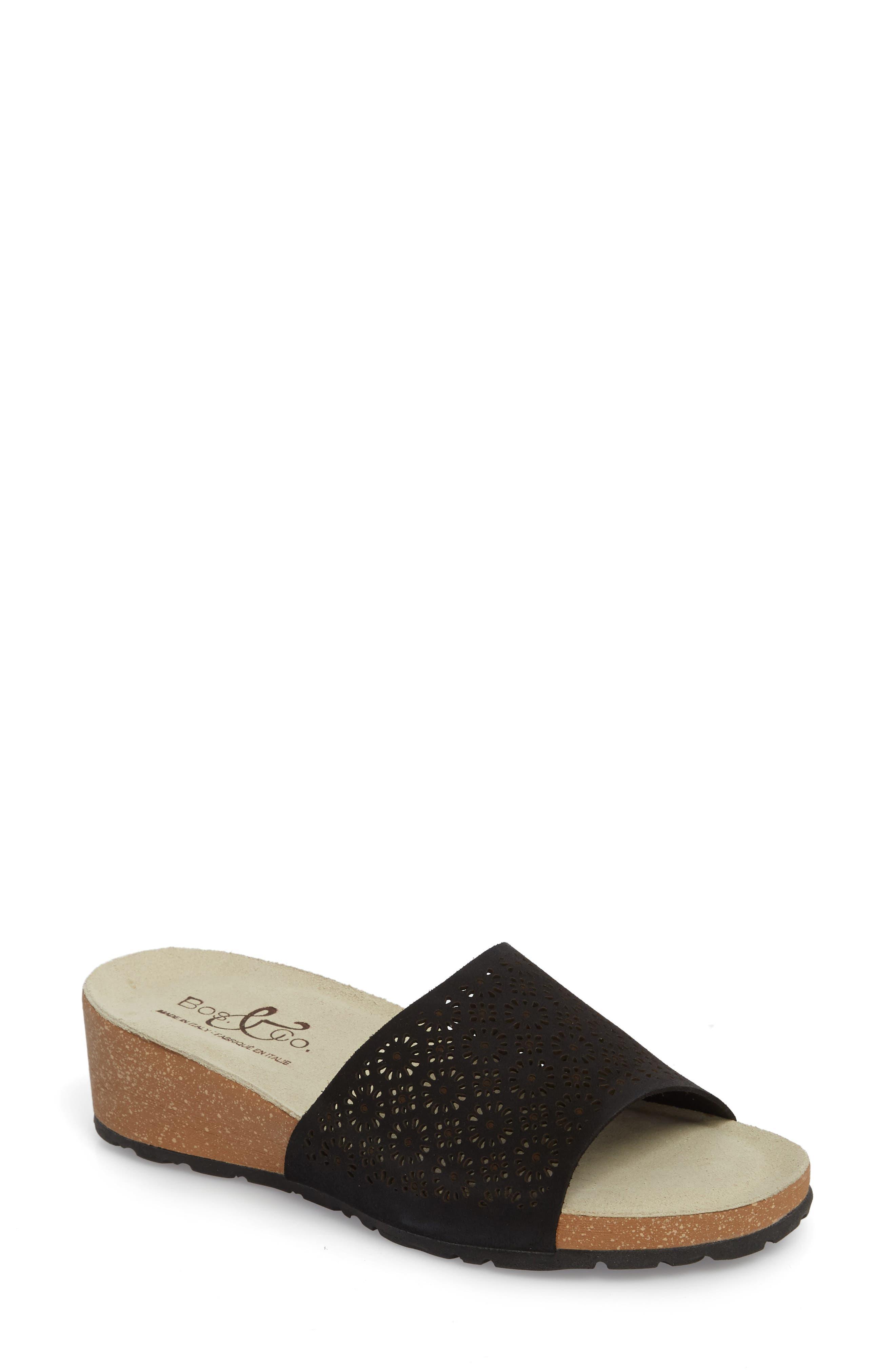 BOS. & CO., Loa Wedge Slide Sandal, Main thumbnail 1, color, BLACK SUEDE