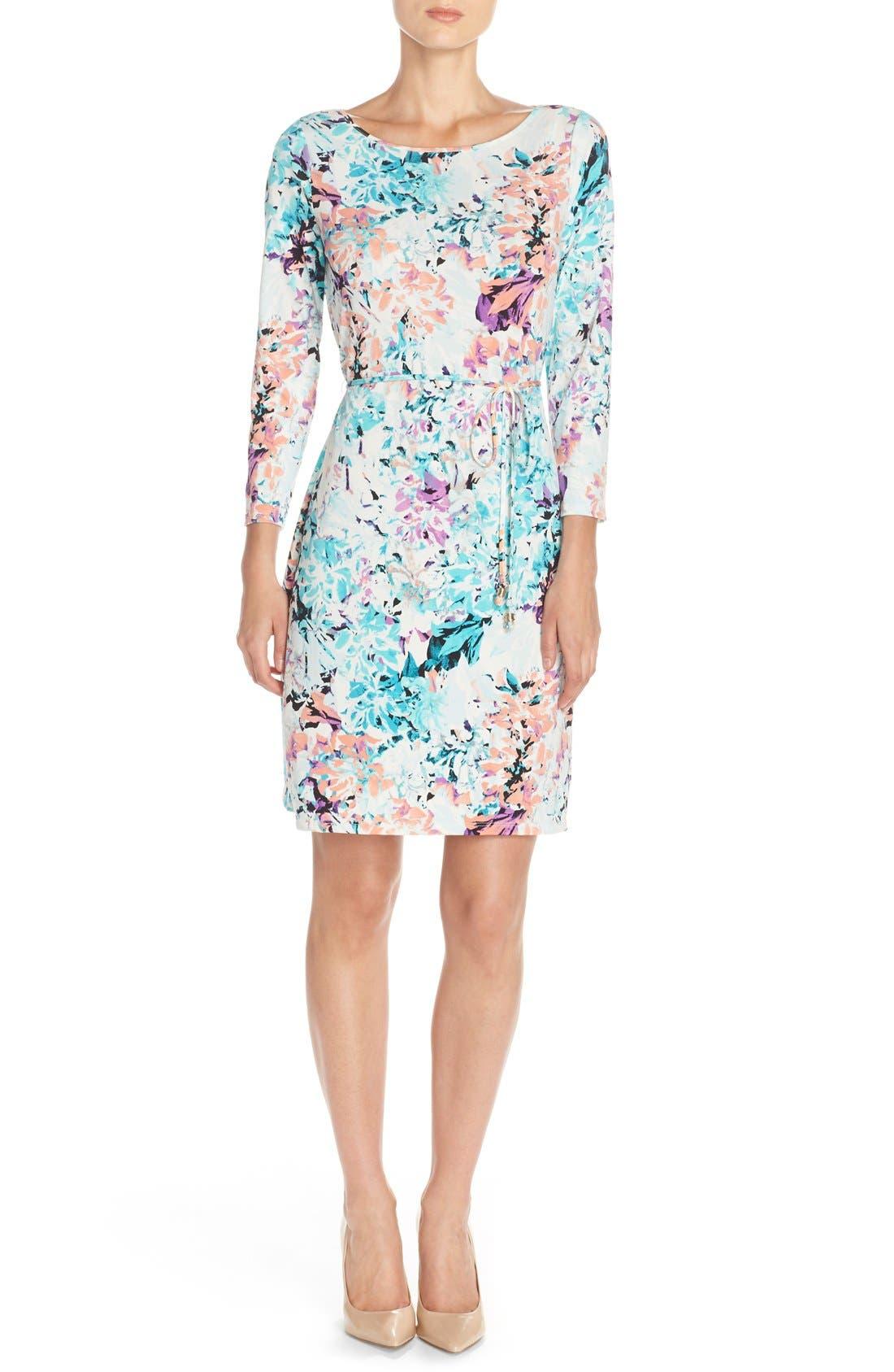 IVANKA TRUMP, Floral Print Jersey A-Line Dress, Alternate thumbnail 4, color, 101