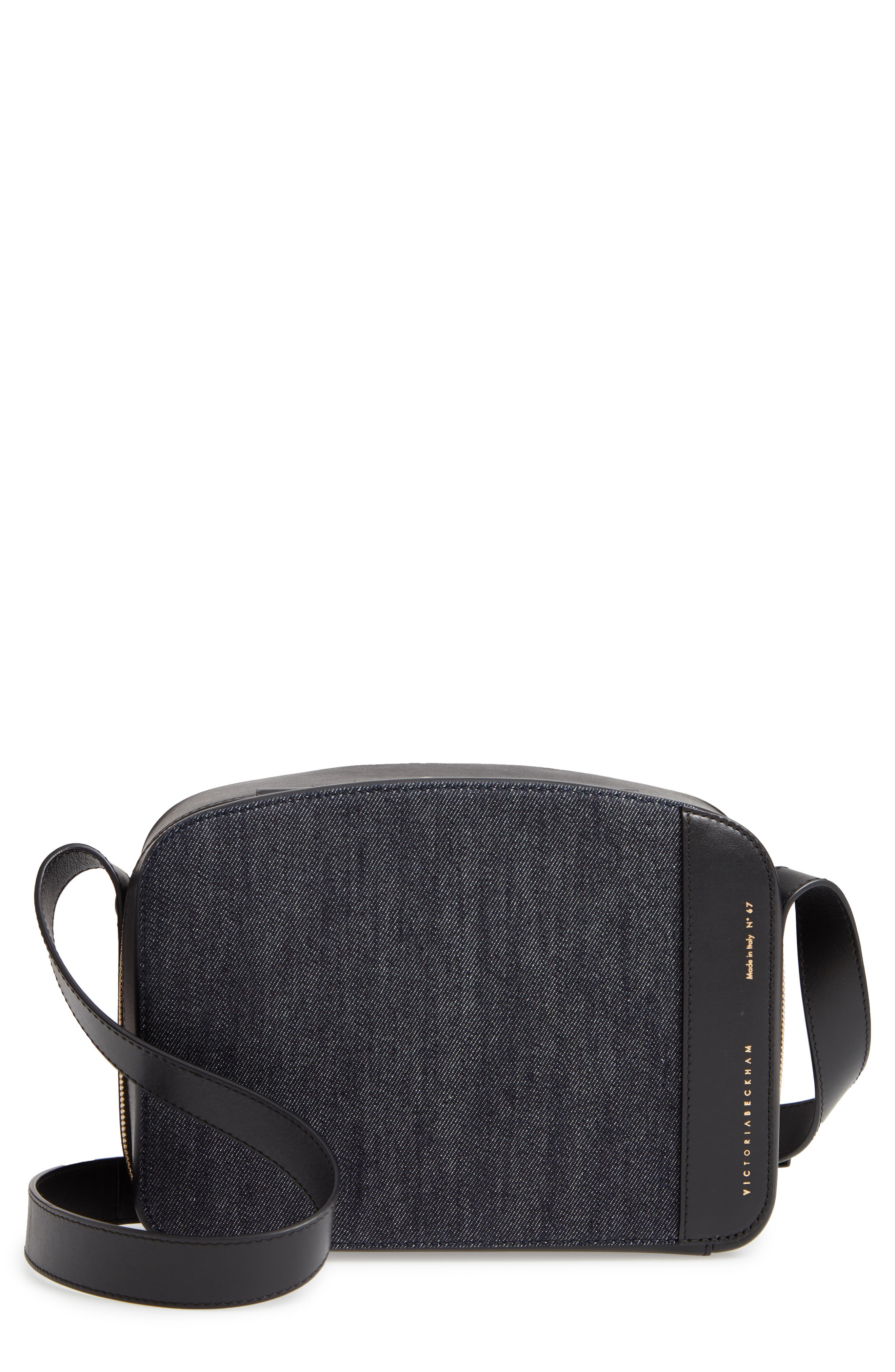 VICTORIA BECKHAM, Vanity Denim & Leather Camera Bag, Main thumbnail 1, color, INDIGO/ BLACK