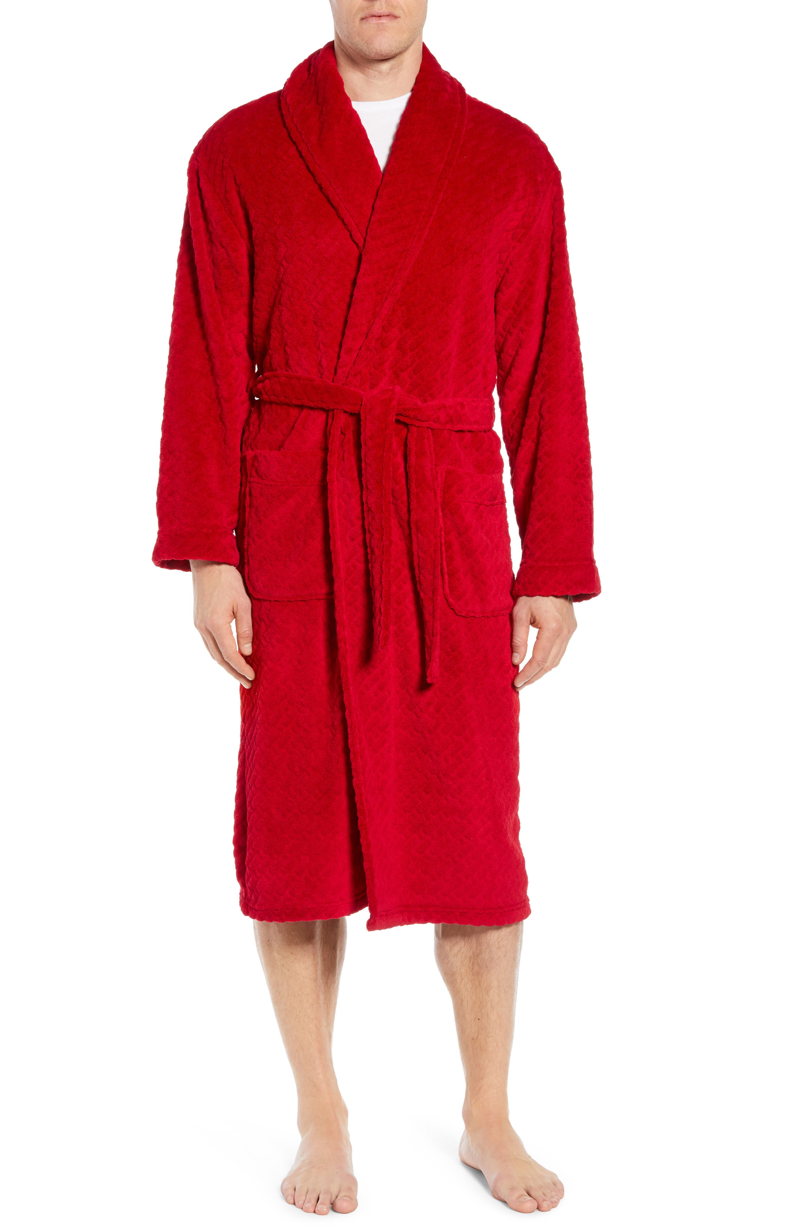 MAJESTIC INTERNATIONAL Fireside Fleece Robe, Main, color, RED RIBBON
