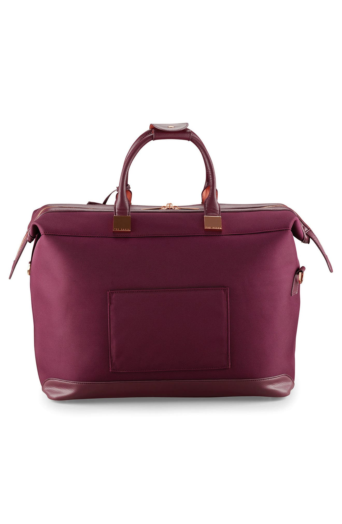 TED BAKER LONDON, Small Clipper Duffle Bag, Alternate thumbnail 4, color, BURGUNDY